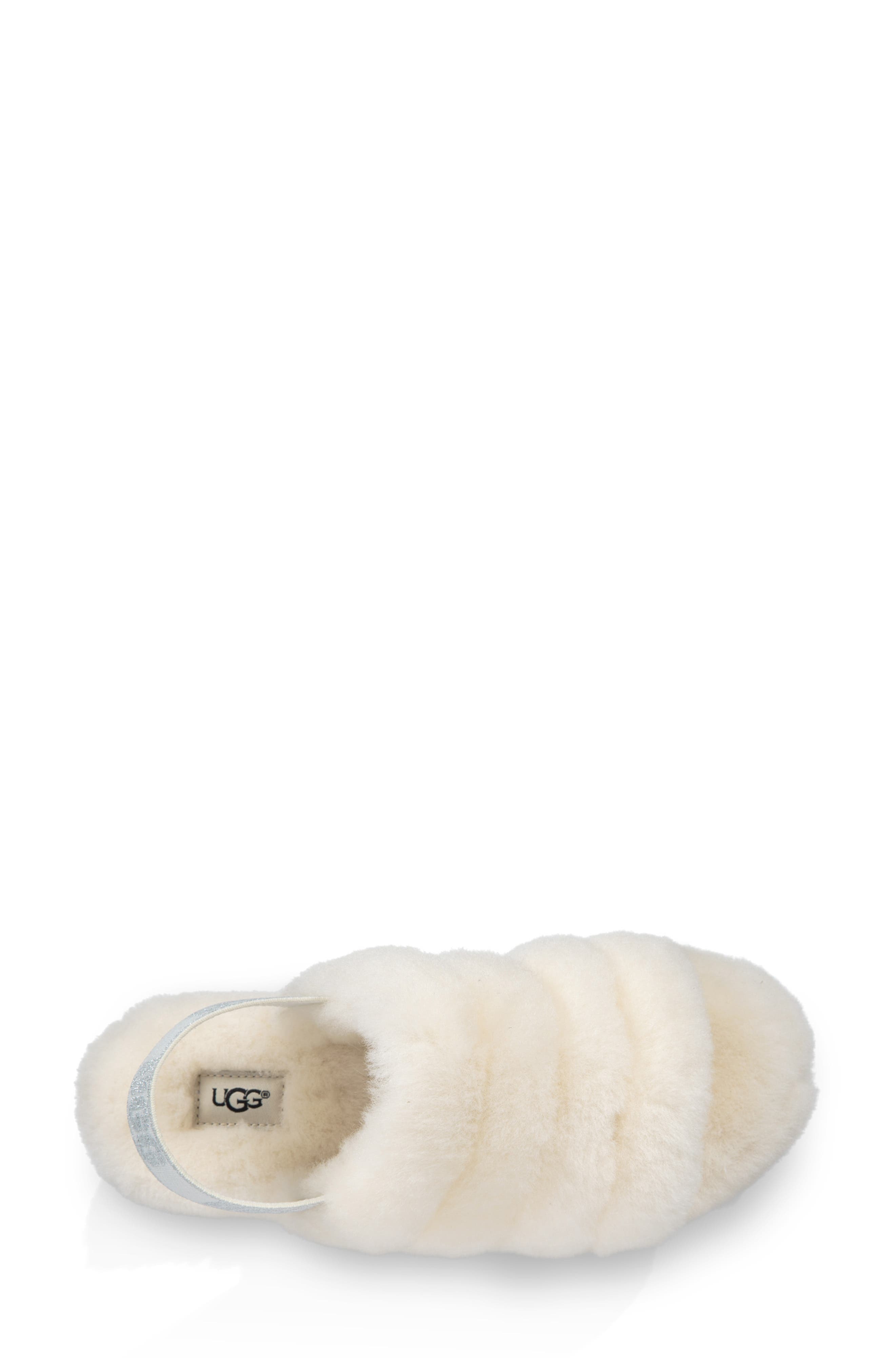 Fluff Yeah Genuine Shearling Slipper,                             Alternate thumbnail 4, color,                             CREAM