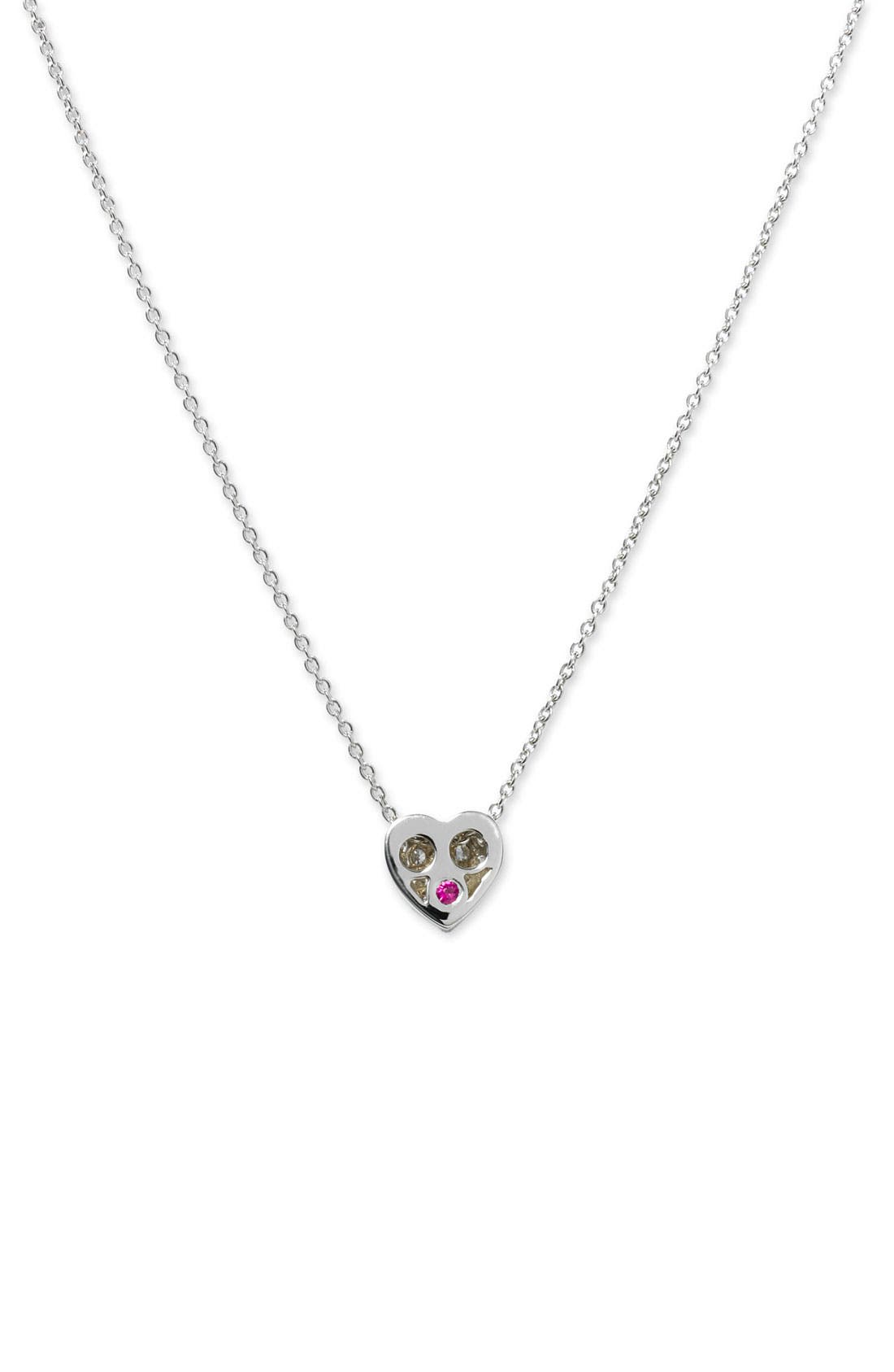 'Tiny Treasures' Diamond Puffed Heart Pendant Necklace,                             Alternate thumbnail 2, color,                             041