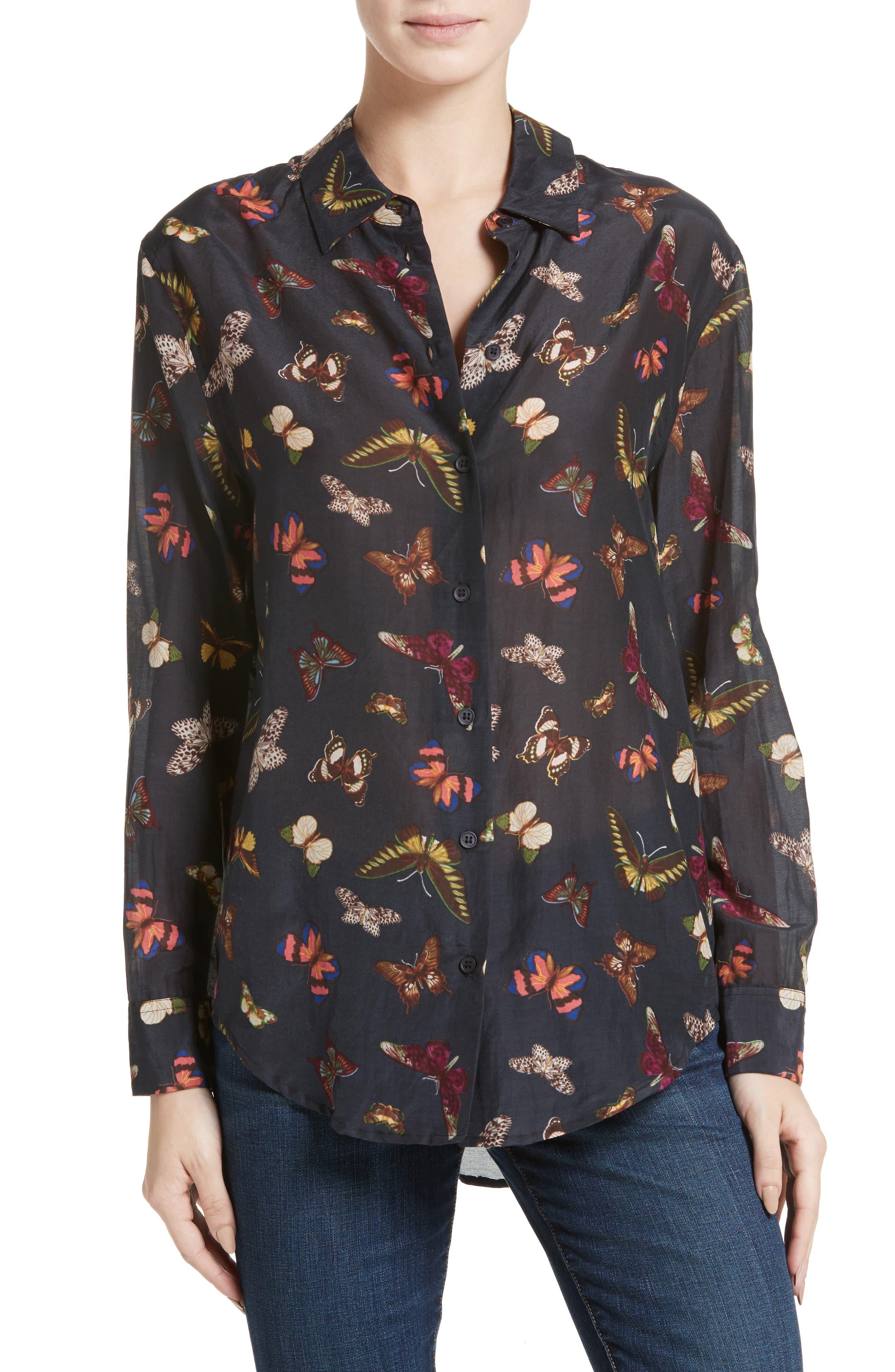 Essential Sheer Cotton & Silk Shirt,                             Main thumbnail 2, color,