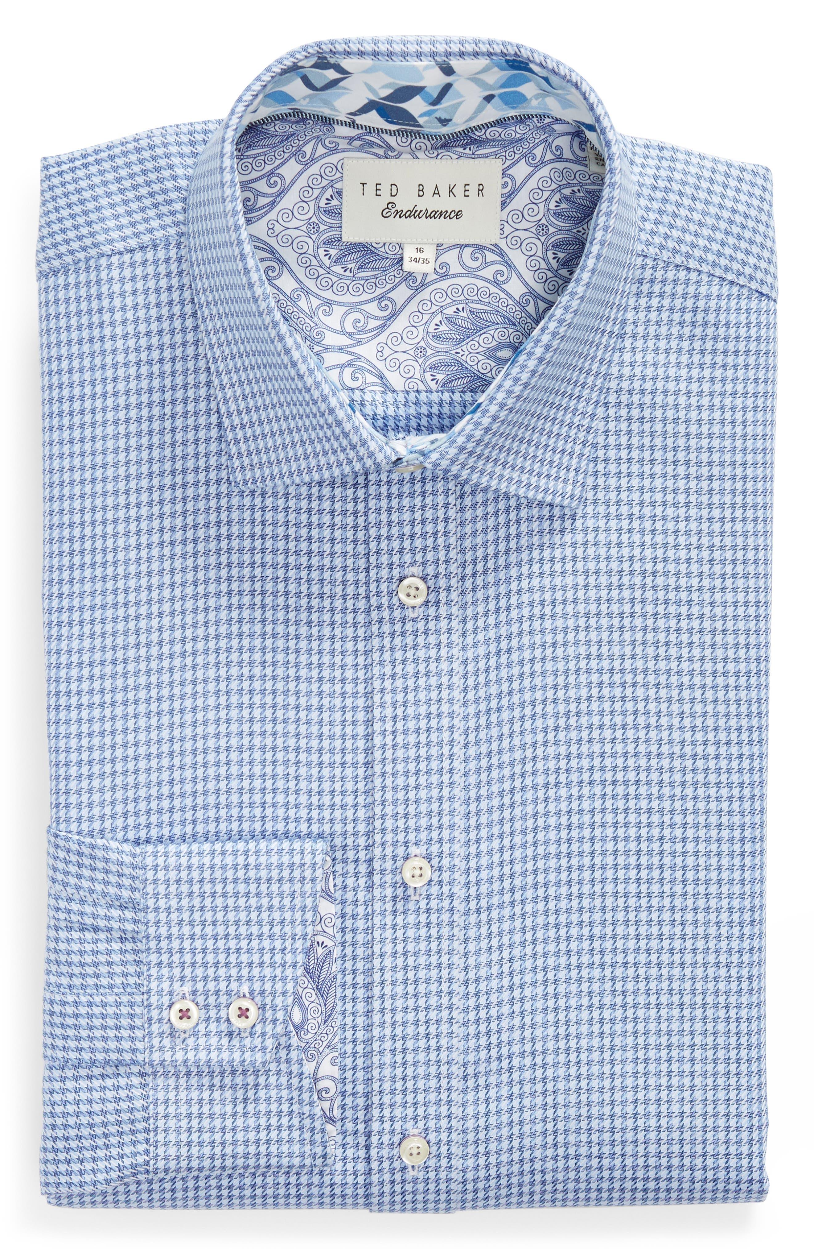 Franks Trim Fit Houndstooth Dress Shirt,                             Alternate thumbnail 5, color,                             BLUE