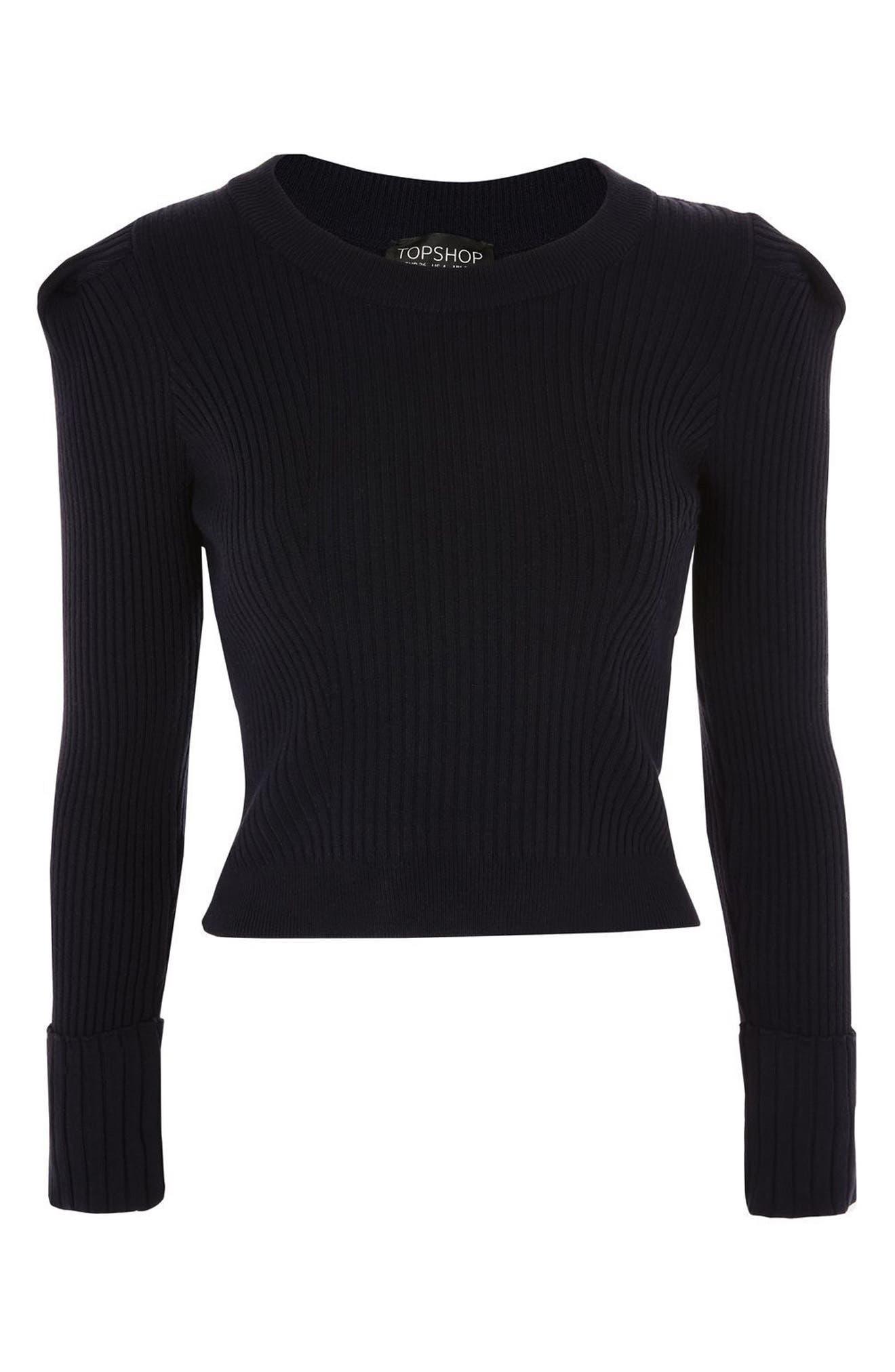 TOPSHOP,                             Puff Sleeve Ribbed Sweater,                             Alternate thumbnail 4, color,                             410