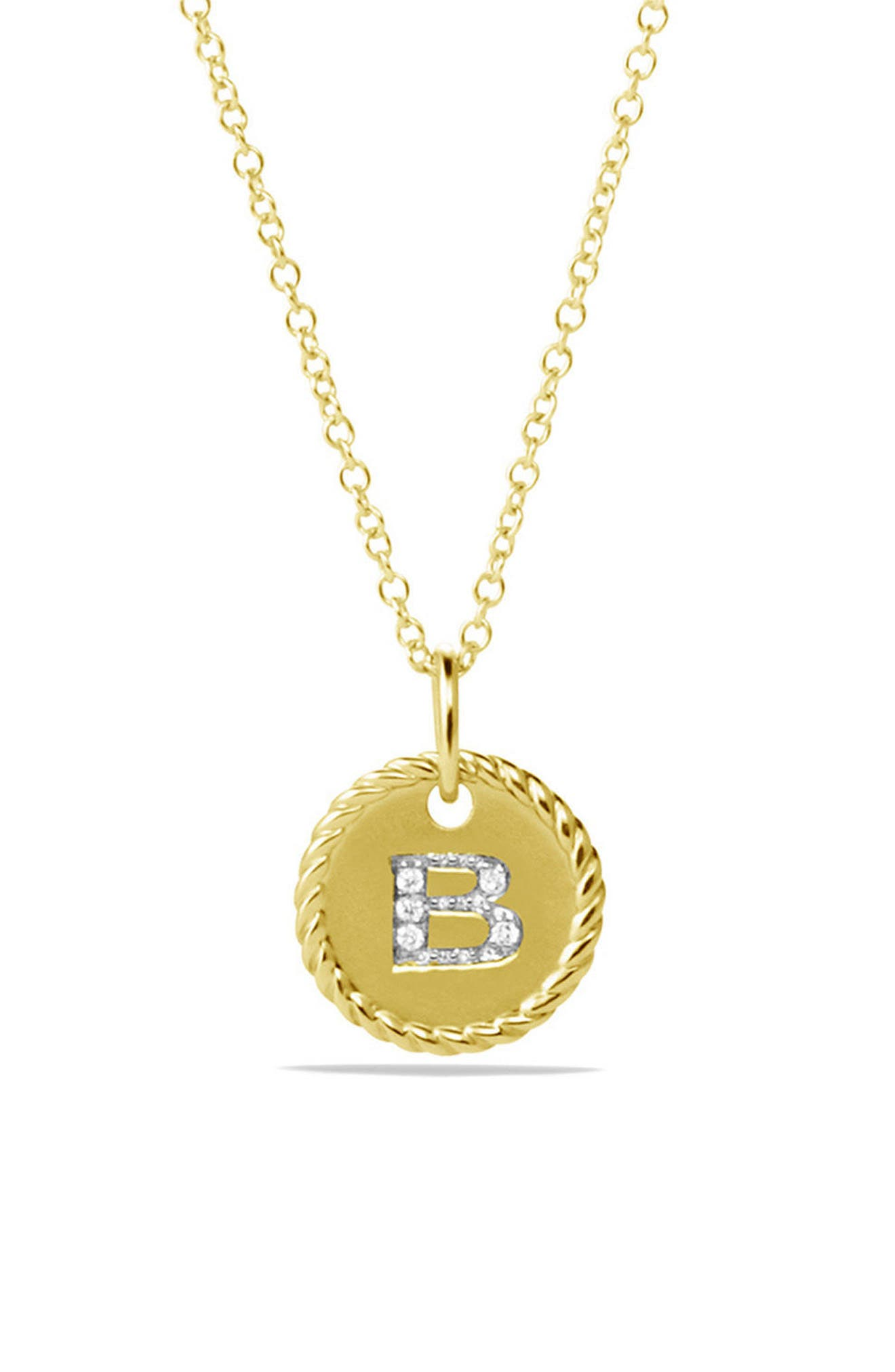 'Cable Collectibles' Initial Pendant with Diamonds in Gold on Chain,                             Alternate thumbnail 2, color,                             B