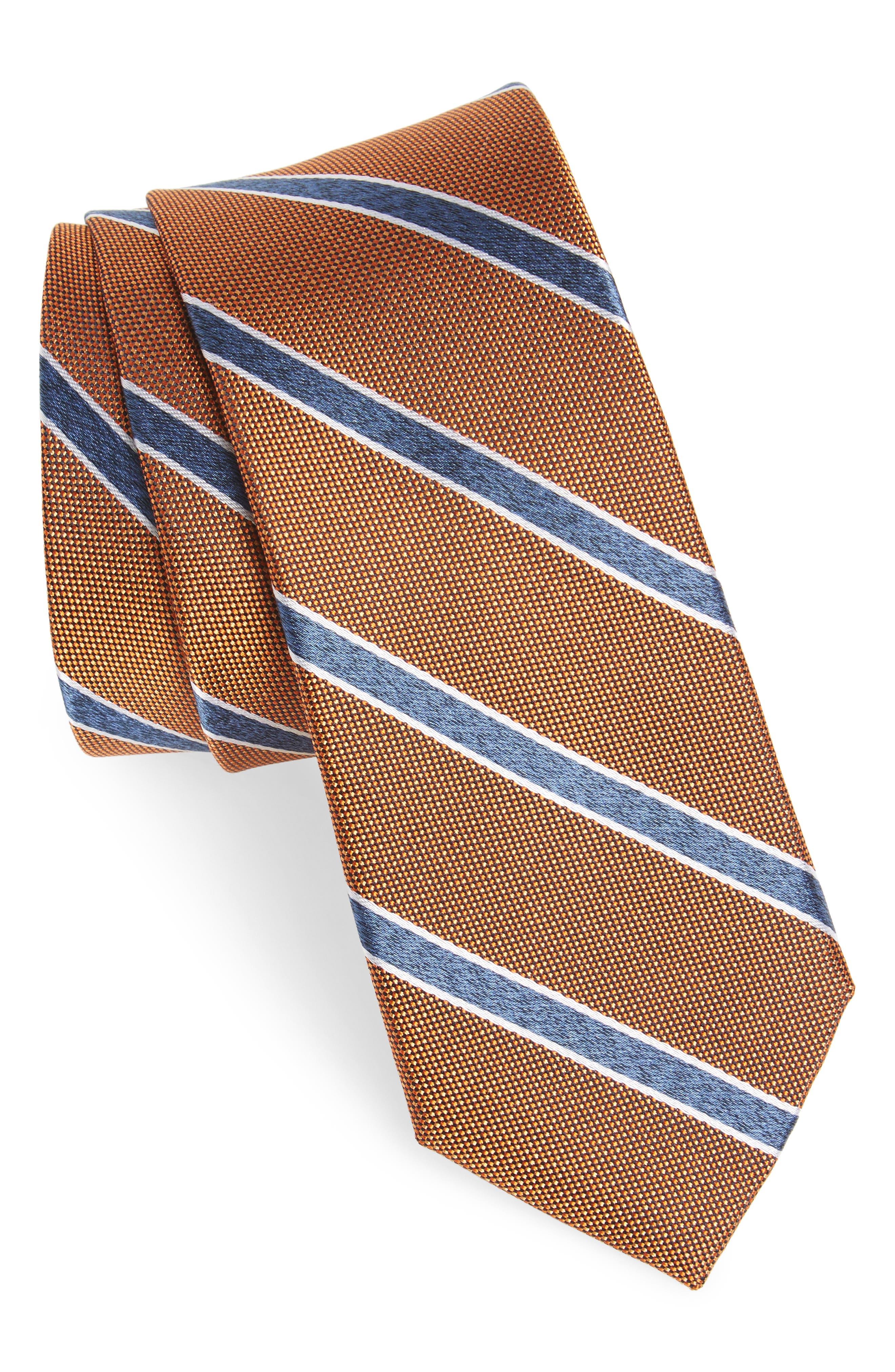 Fontana Stripe Silk Skinny Tie,                             Main thumbnail 2, color,