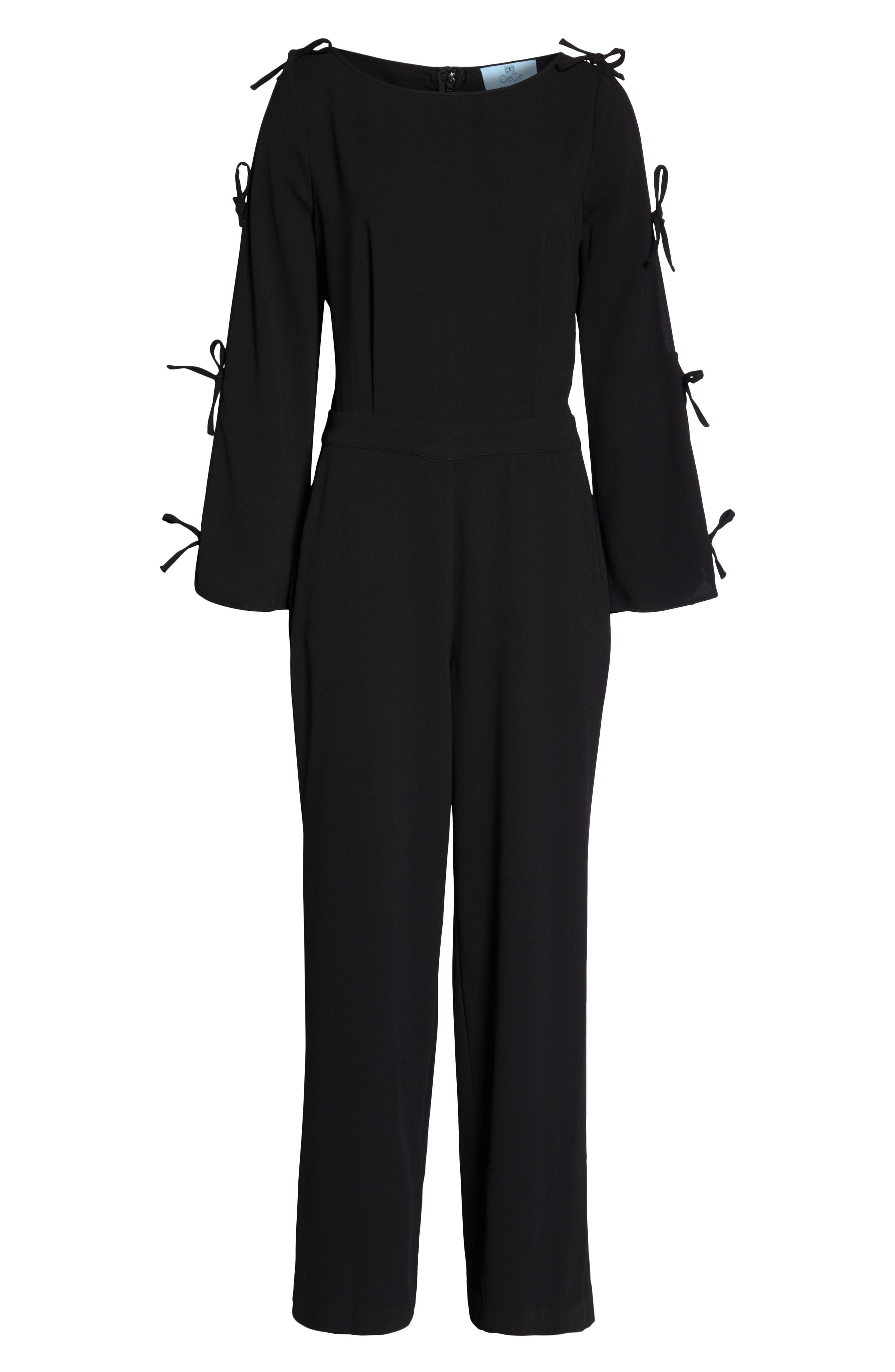 Bow Sleeve Jumpsuit,                             Alternate thumbnail 4, color,                             RICH BLACK