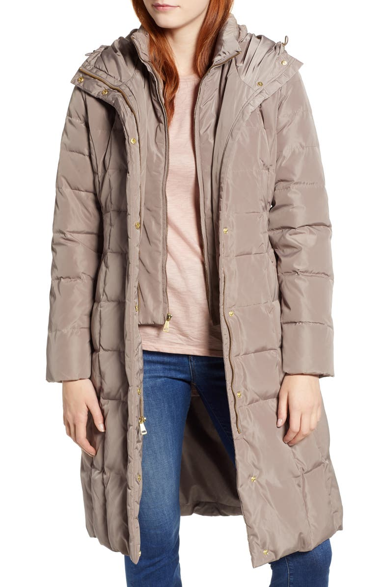 Cole Haan Bib Insert Down & Feather Fill Coat (Regular & Petite) | Nordstrom
