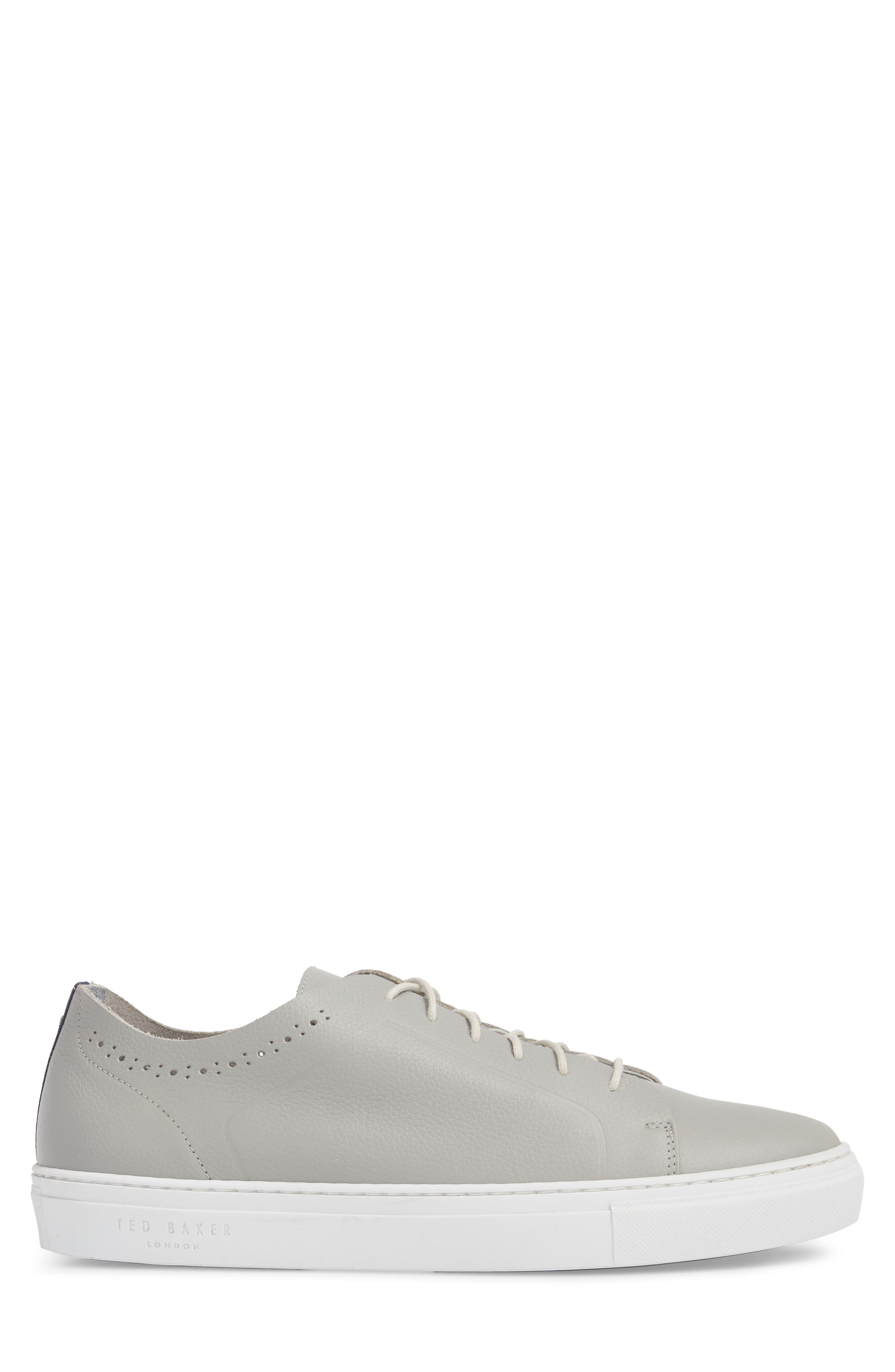Nowull Brogued Sneaker,                             Alternate thumbnail 3, color,                             LIGHT GREY LEATHER