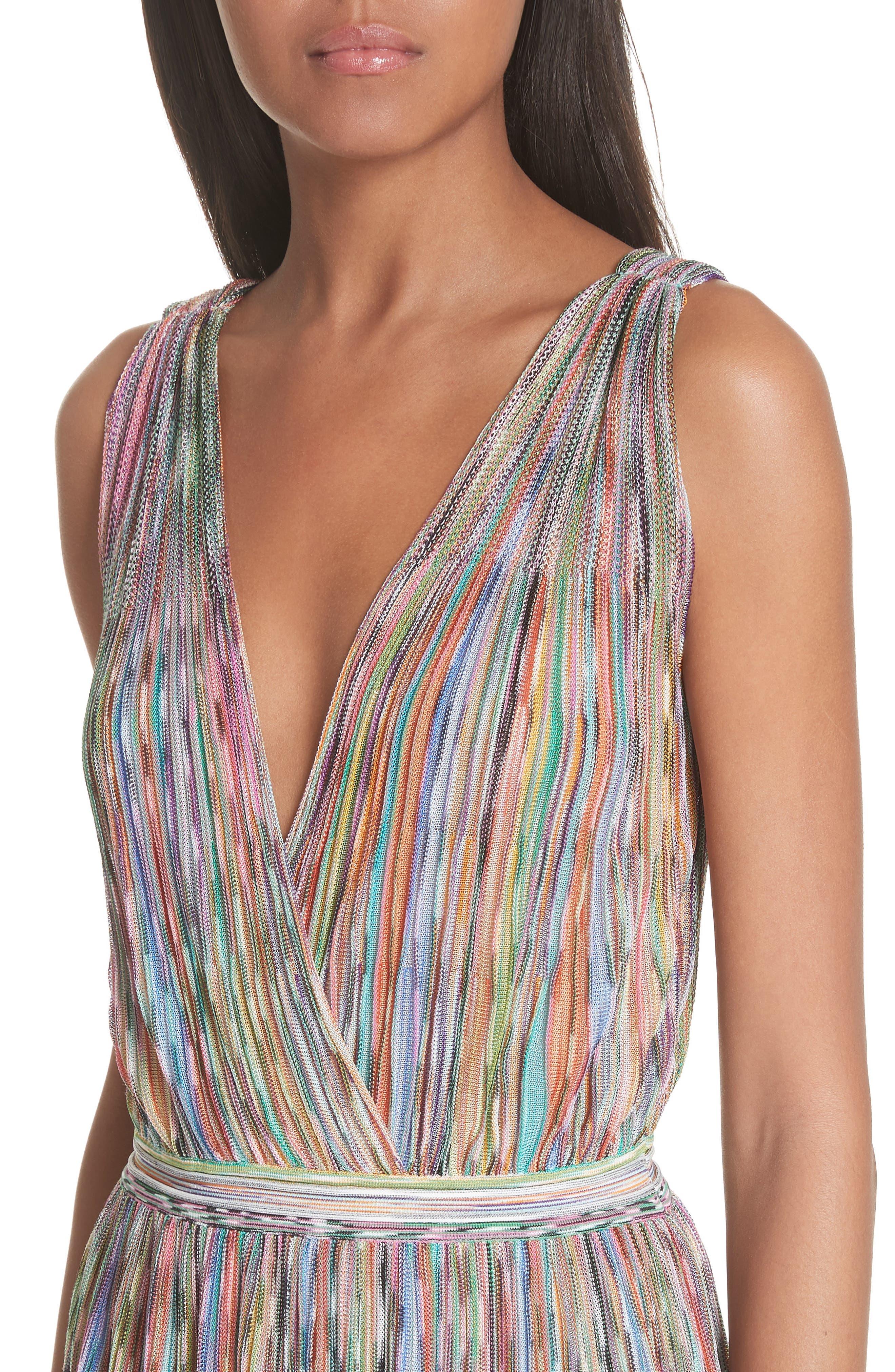 Surplice Neck Stripe Midi Dress,                             Alternate thumbnail 4, color,                             650