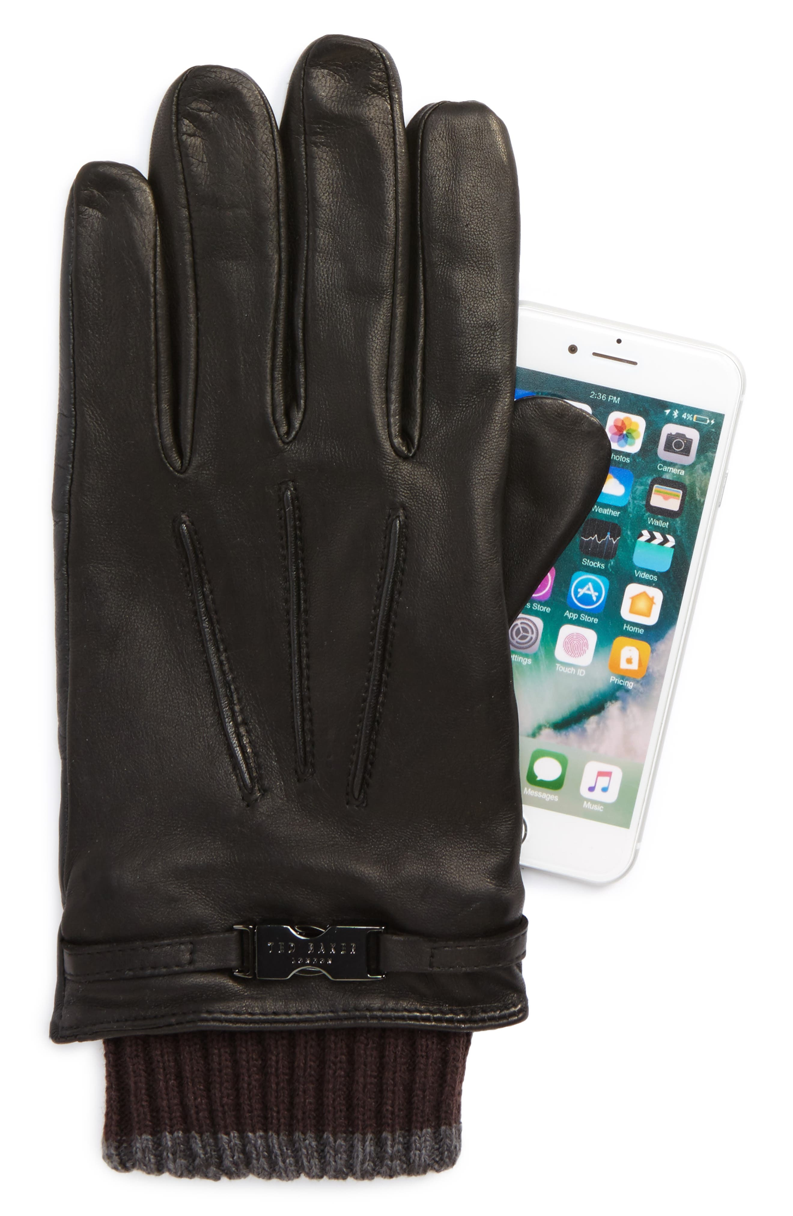 Quiff Leather Gloves,                             Alternate thumbnail 2, color,                             001