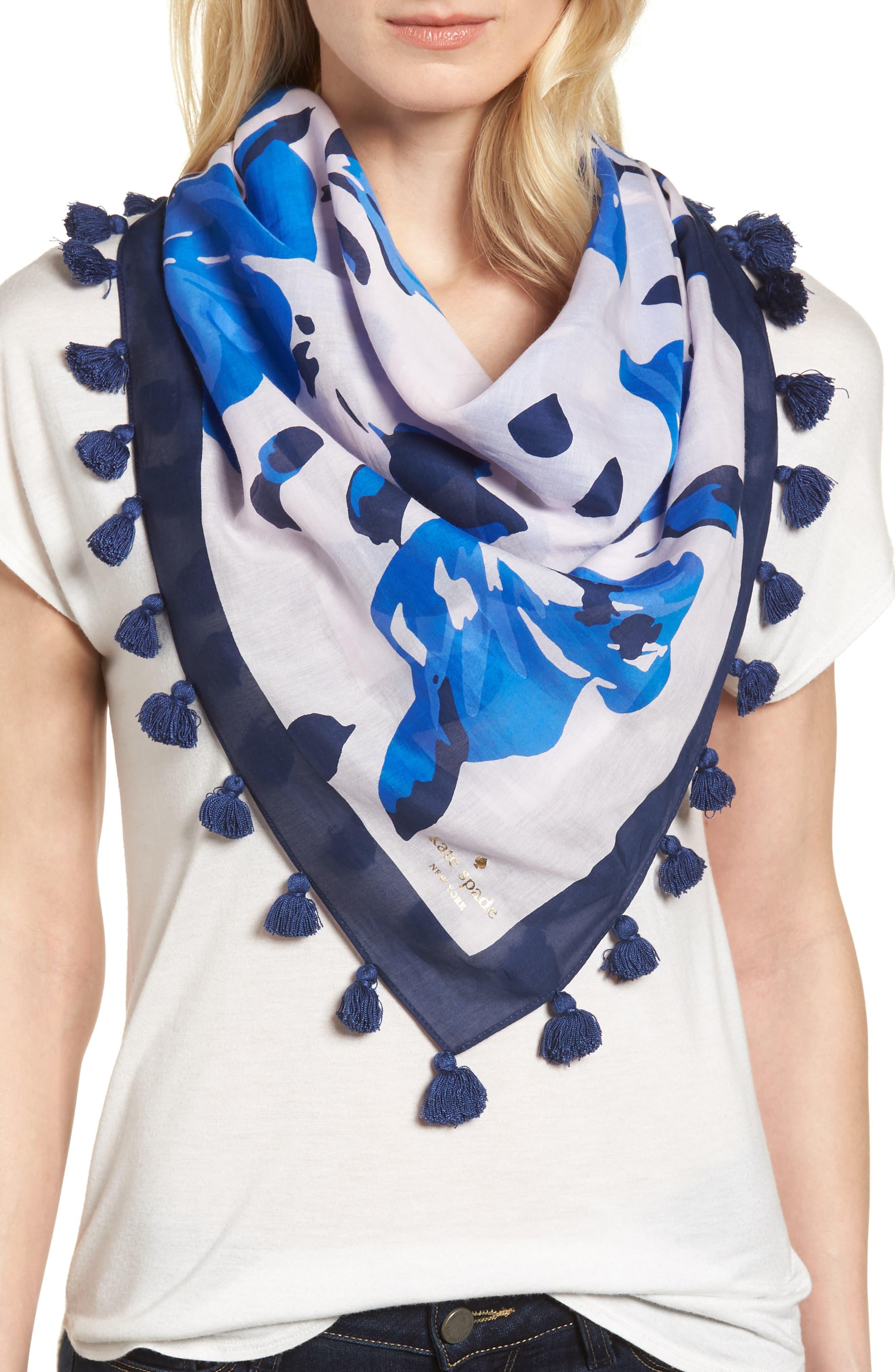 hibiscus square cotton & silk scarf,                         Main,                         color, PINK LEMONADE