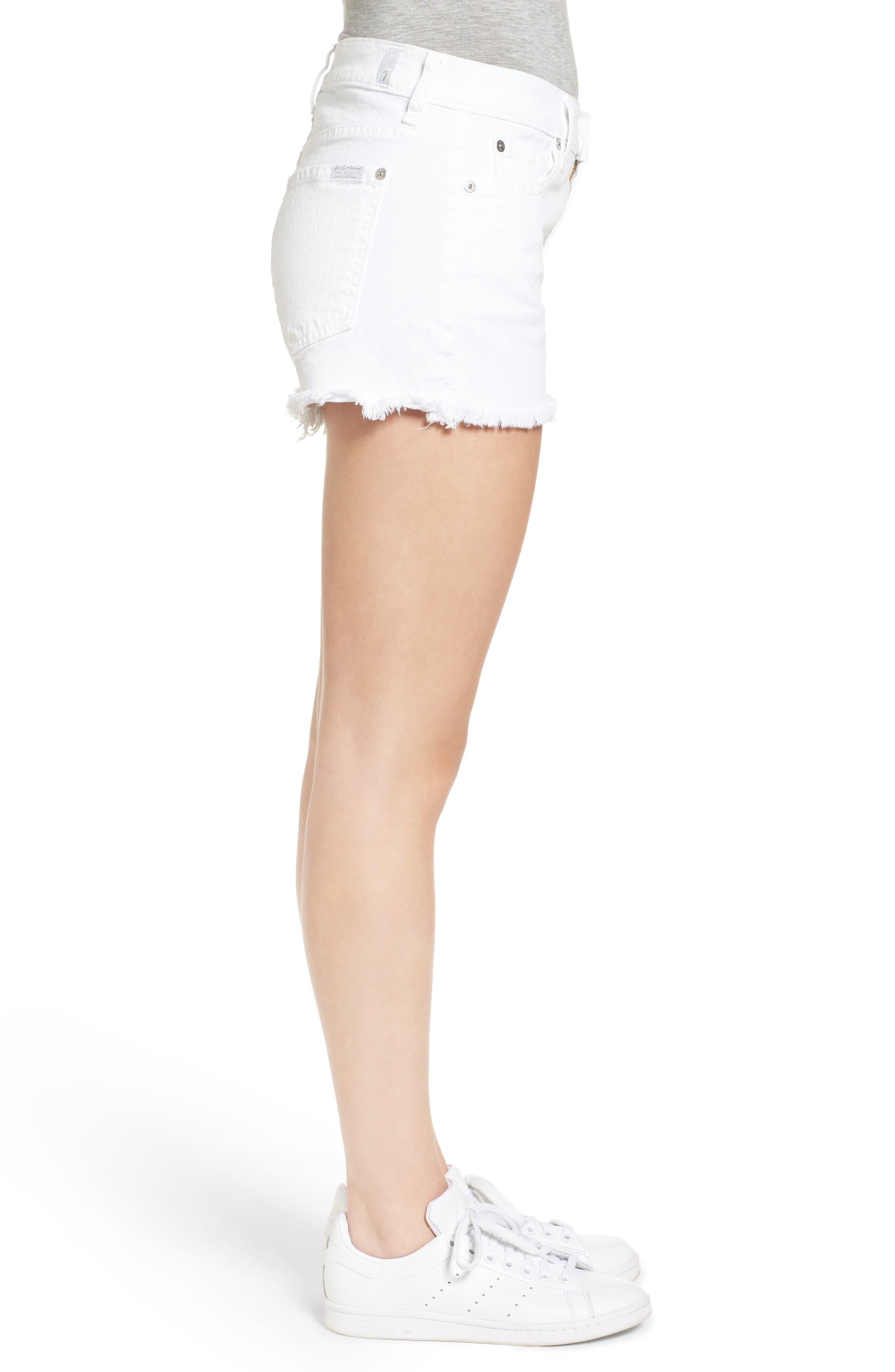 Cutoff Denim Shorts,                             Alternate thumbnail 3, color,                             CLEAN WHITE
