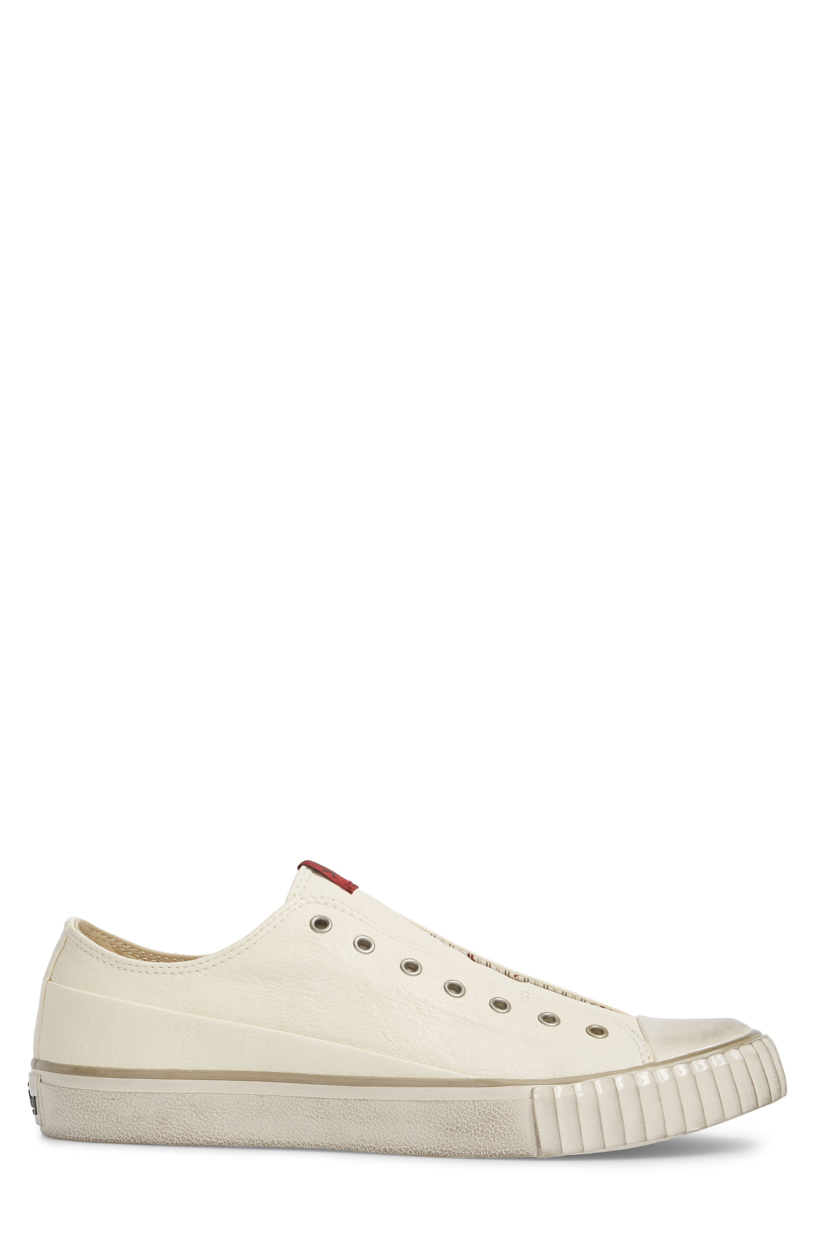 Laceless Low Top Sneaker,                             Alternate thumbnail 3, color,                             WHITE LEATHER
