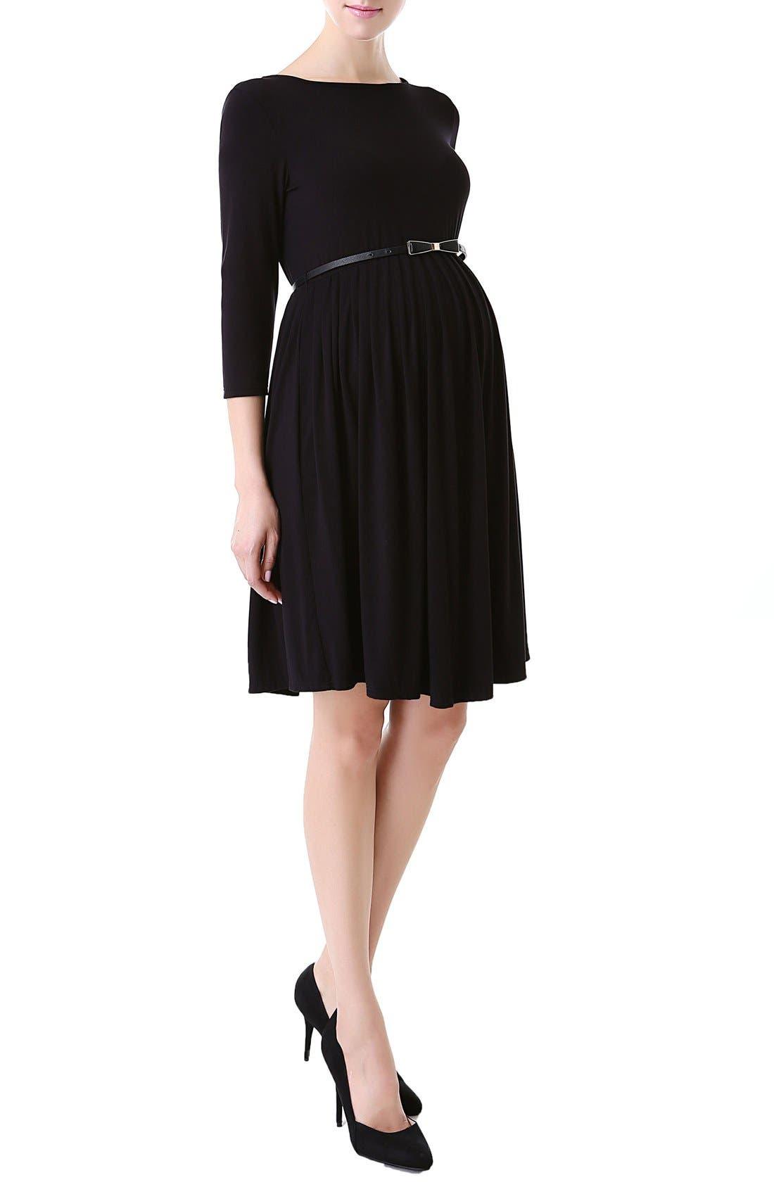 'Shannon' Maternity Dress,                             Alternate thumbnail 3, color,                             BLACK