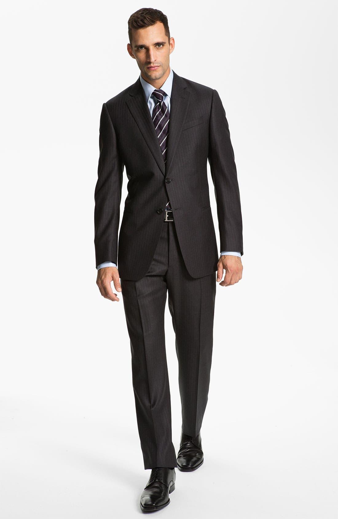Armani Collezioni 'Giorgio' Trim Fit Stripe Suit,                             Alternate thumbnail 6, color,                             024
