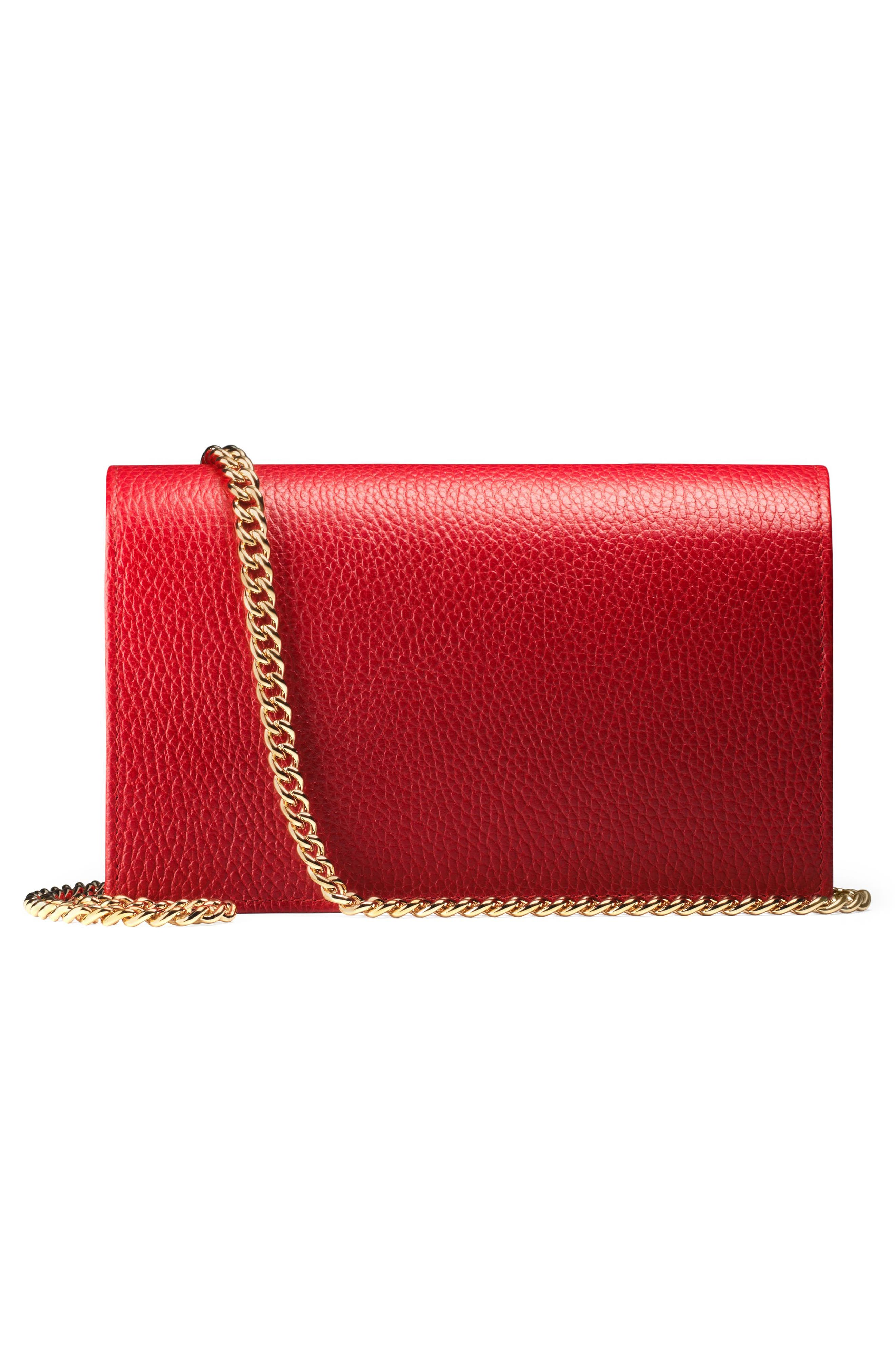 Petite Marmont Leather Wallet on a Chain,                             Alternate thumbnail 17, color,