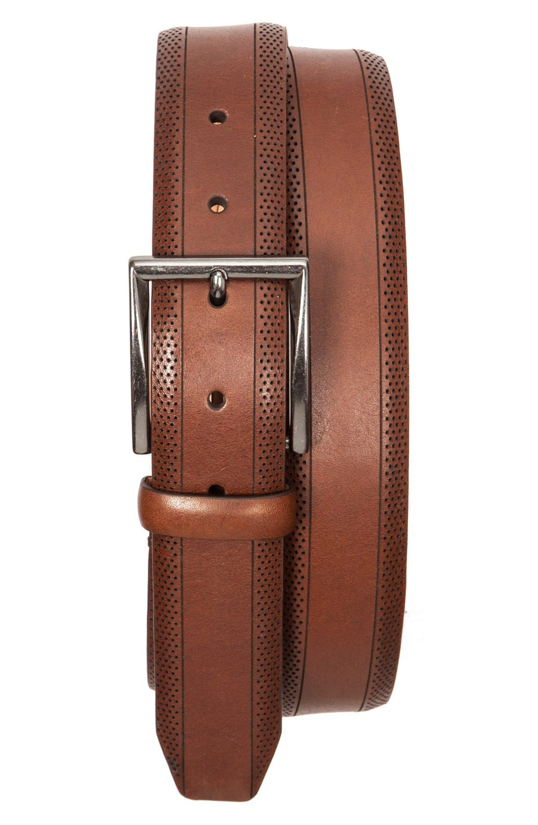 Perforated Leather Belt,                             Main thumbnail 1, color,