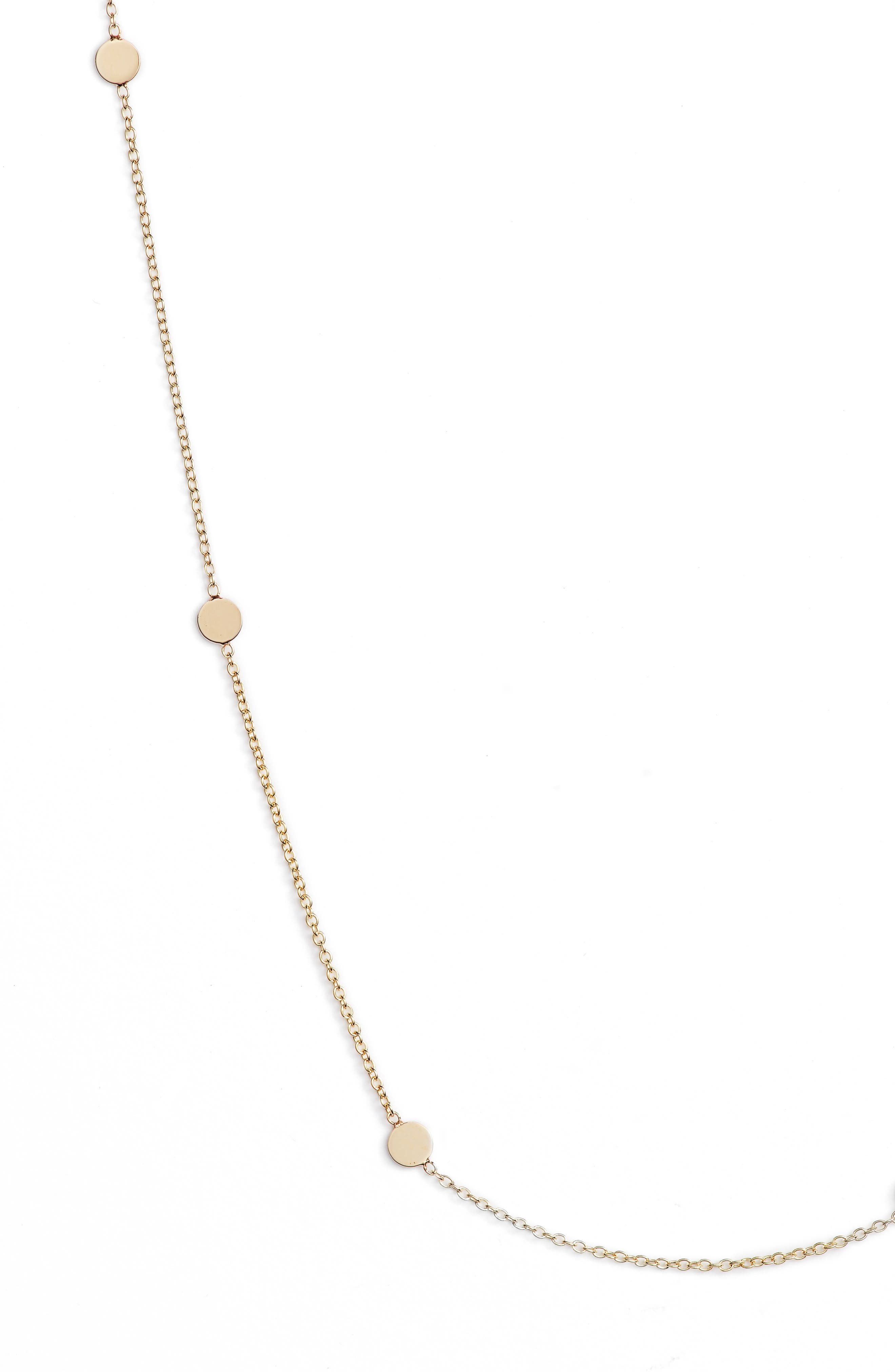 Itty Bitty Round Disc Station Necklace,                             Alternate thumbnail 2, color,                             YELLOW GOLD