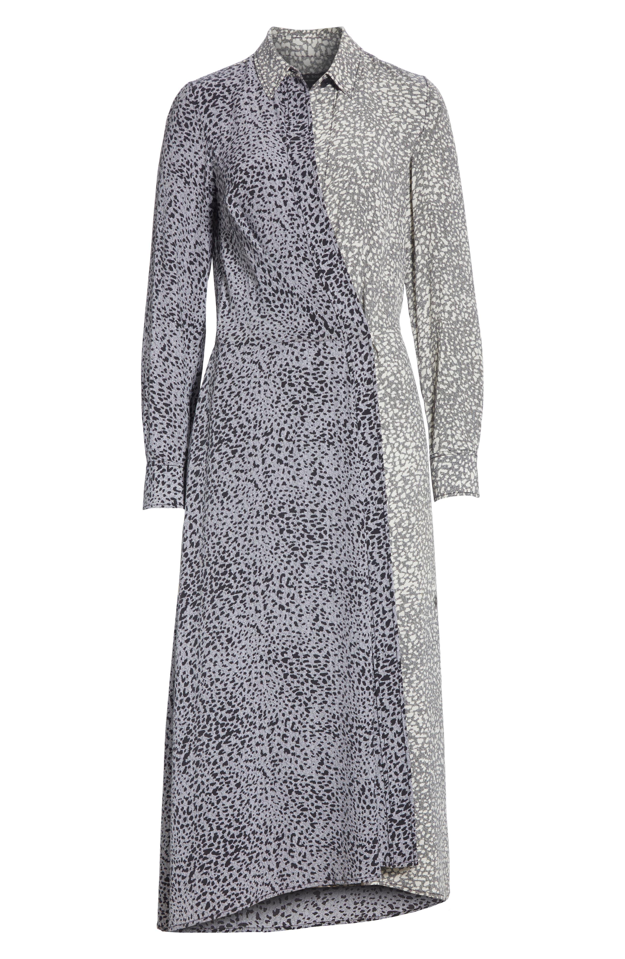 Karen Cheetah Print Silk Dress,                             Alternate thumbnail 6, color,                             BLACK MULTI