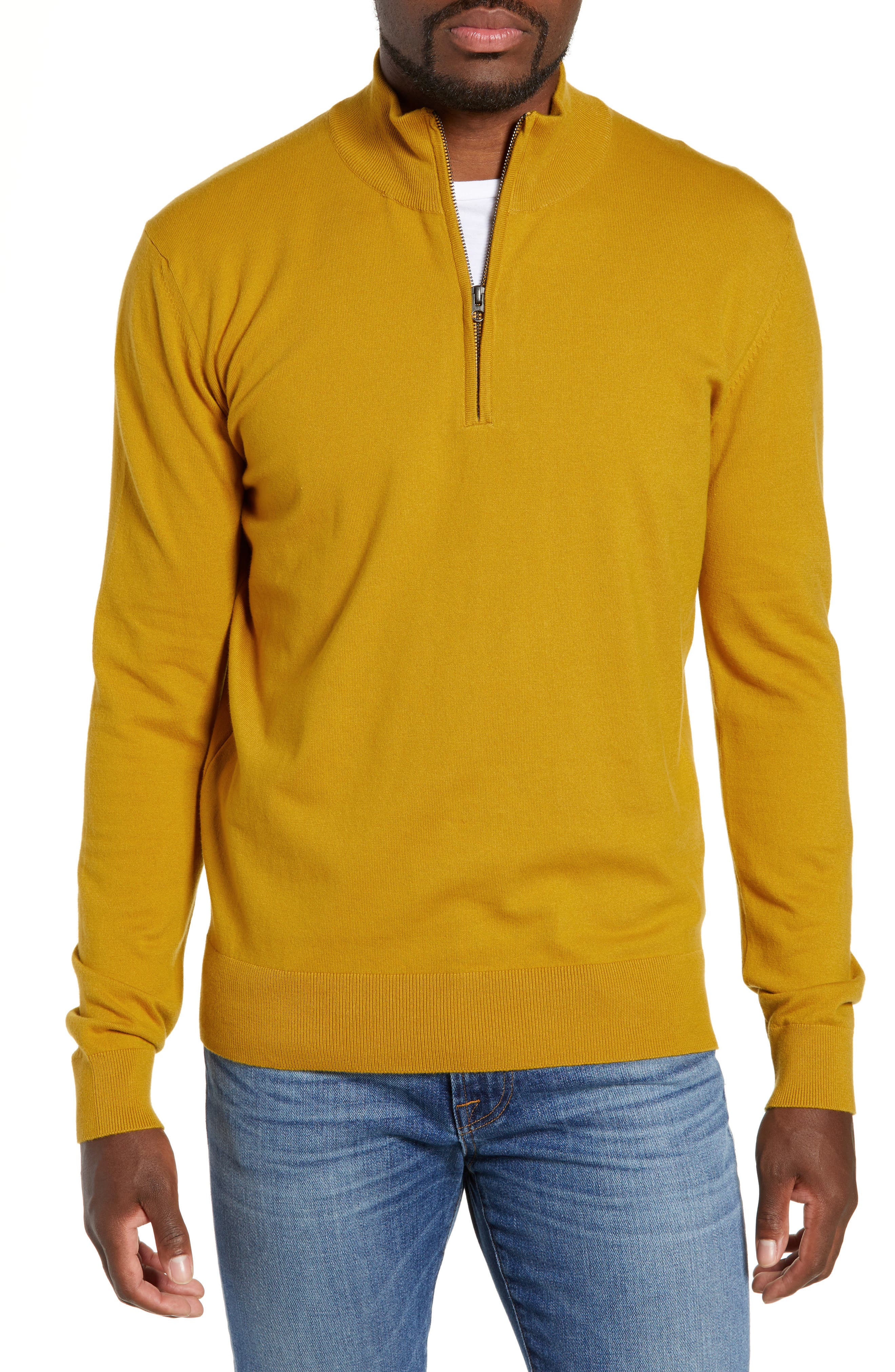 French Connection Stretch Cotton Quarter Zip Sweater, Yellow