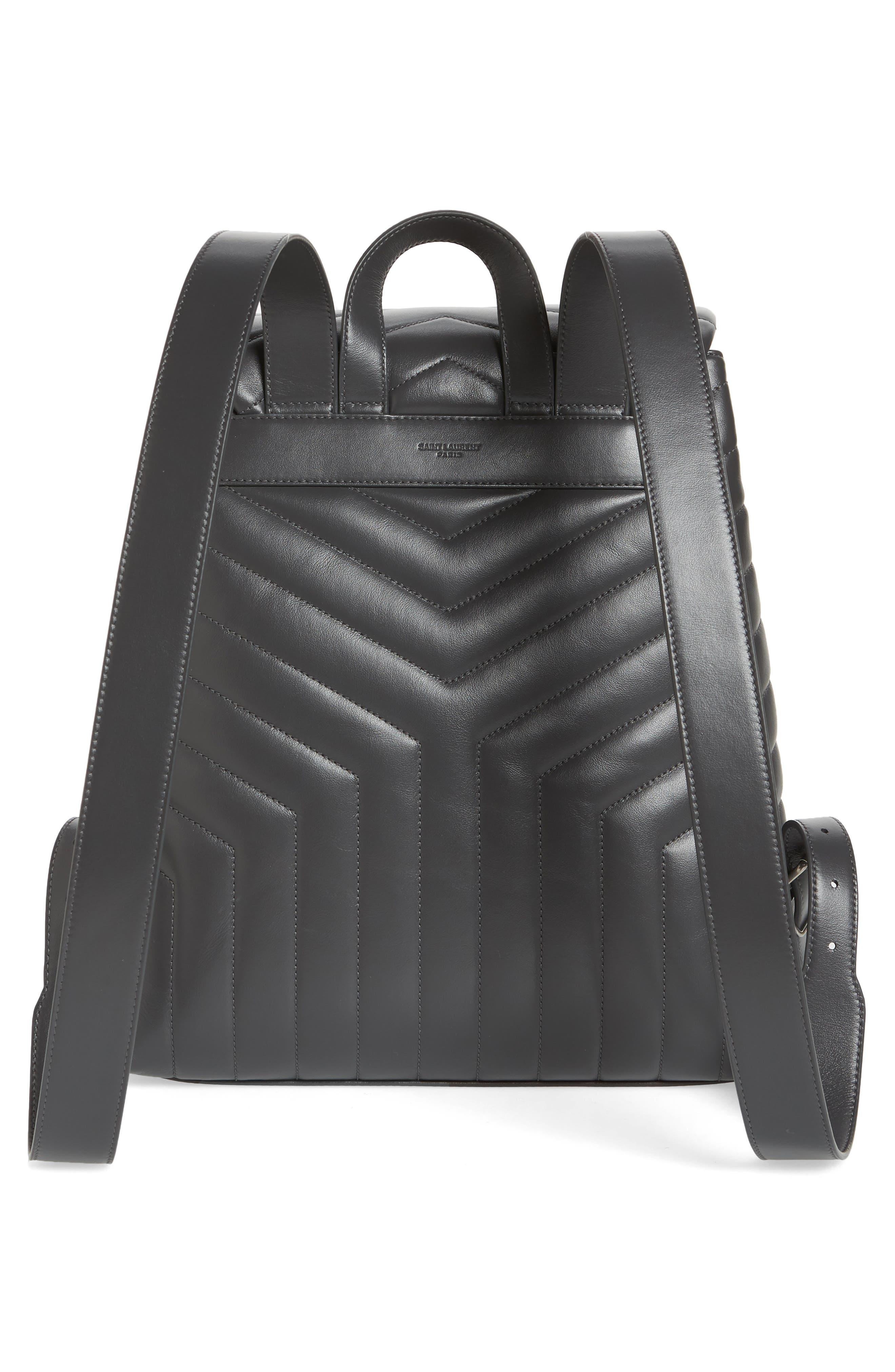 Medium Loulou Calfskin Leather Backpack,                             Alternate thumbnail 3, color,                             021