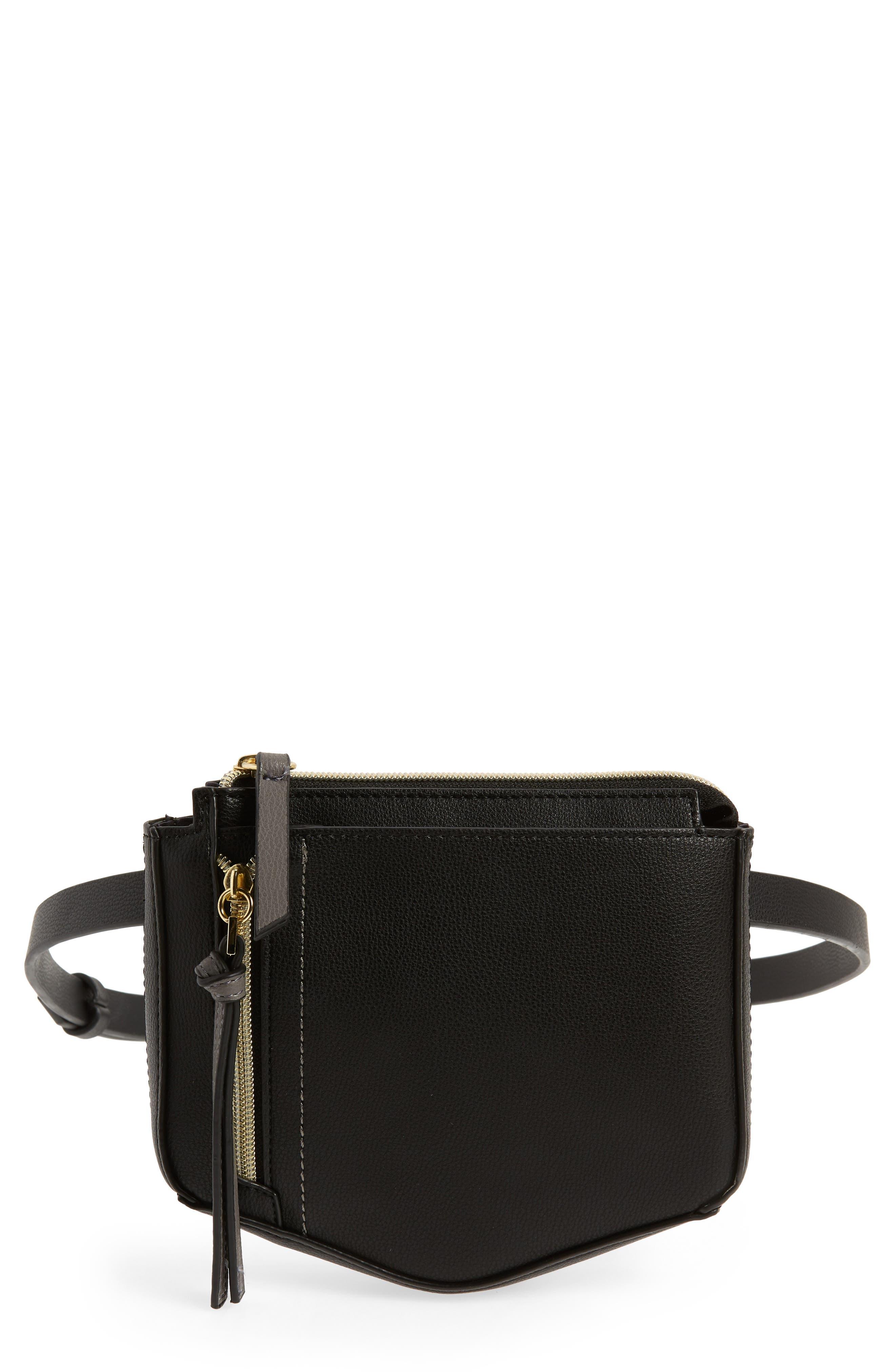 Elia Faux Leather Belt Bag,                         Main,                         color, BLACK