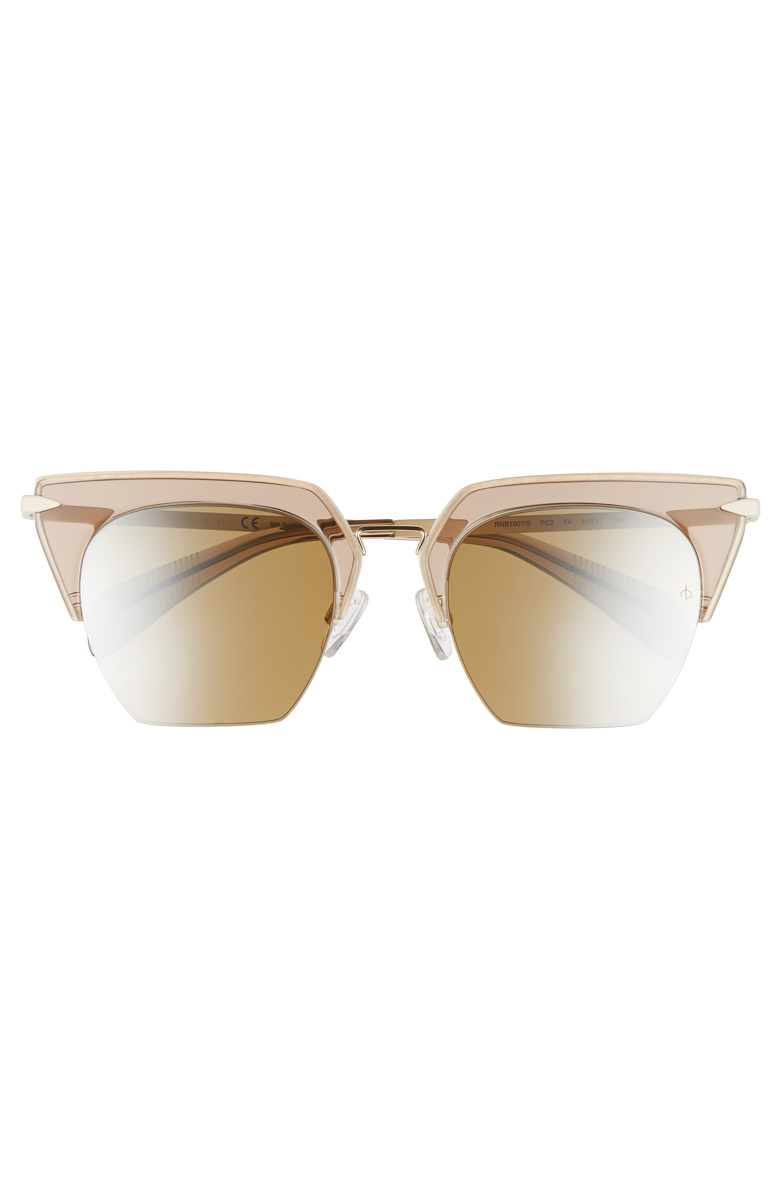 51mm Cat Eye Sunglasses,                             Alternate thumbnail 3, color,                             OPAL BROWN