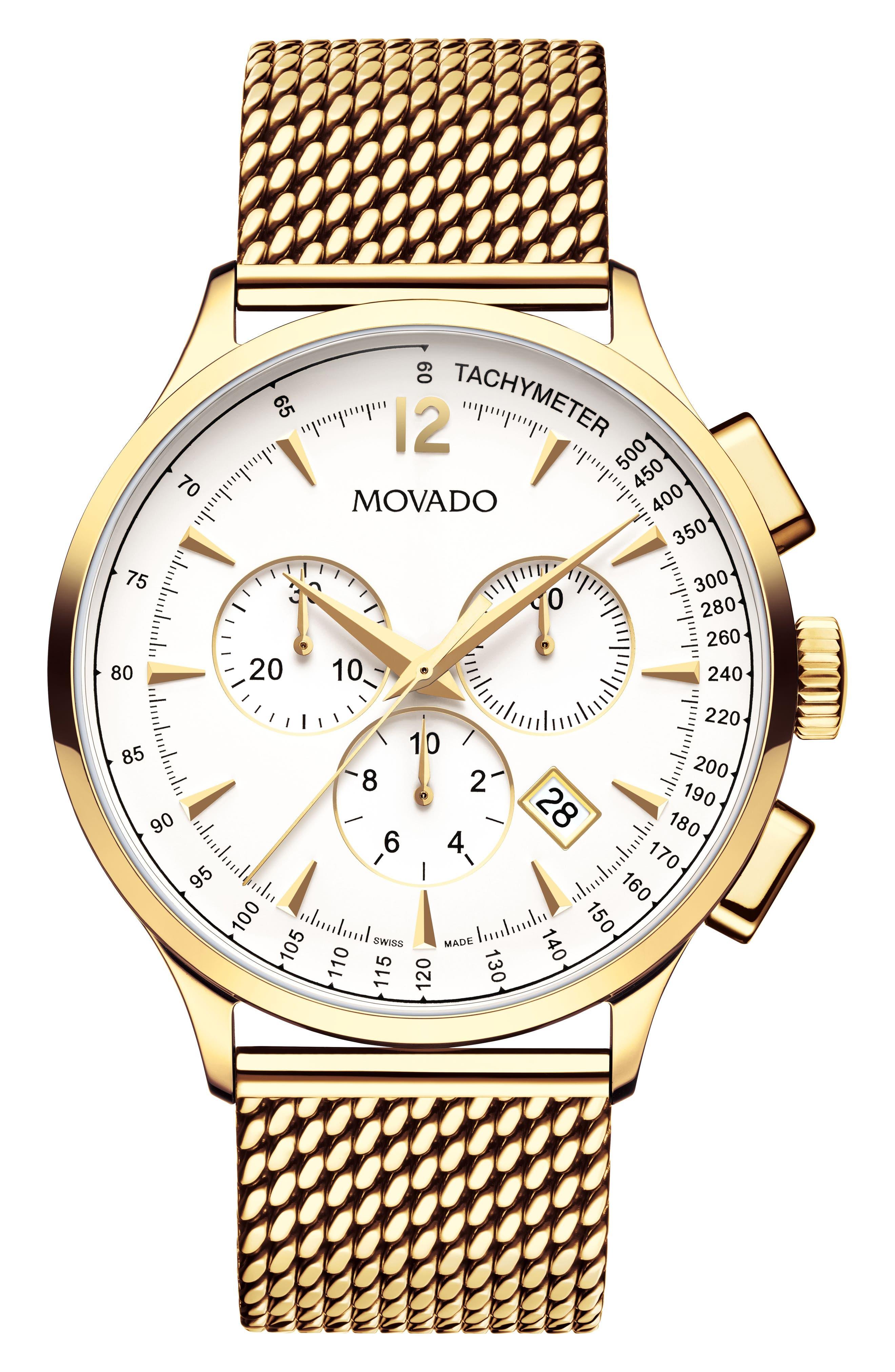 'Circa' Chronograph Mesh Strap Watch, 42mm,                             Main thumbnail 1, color,                             GOLD/ WHITE/ GOLD
