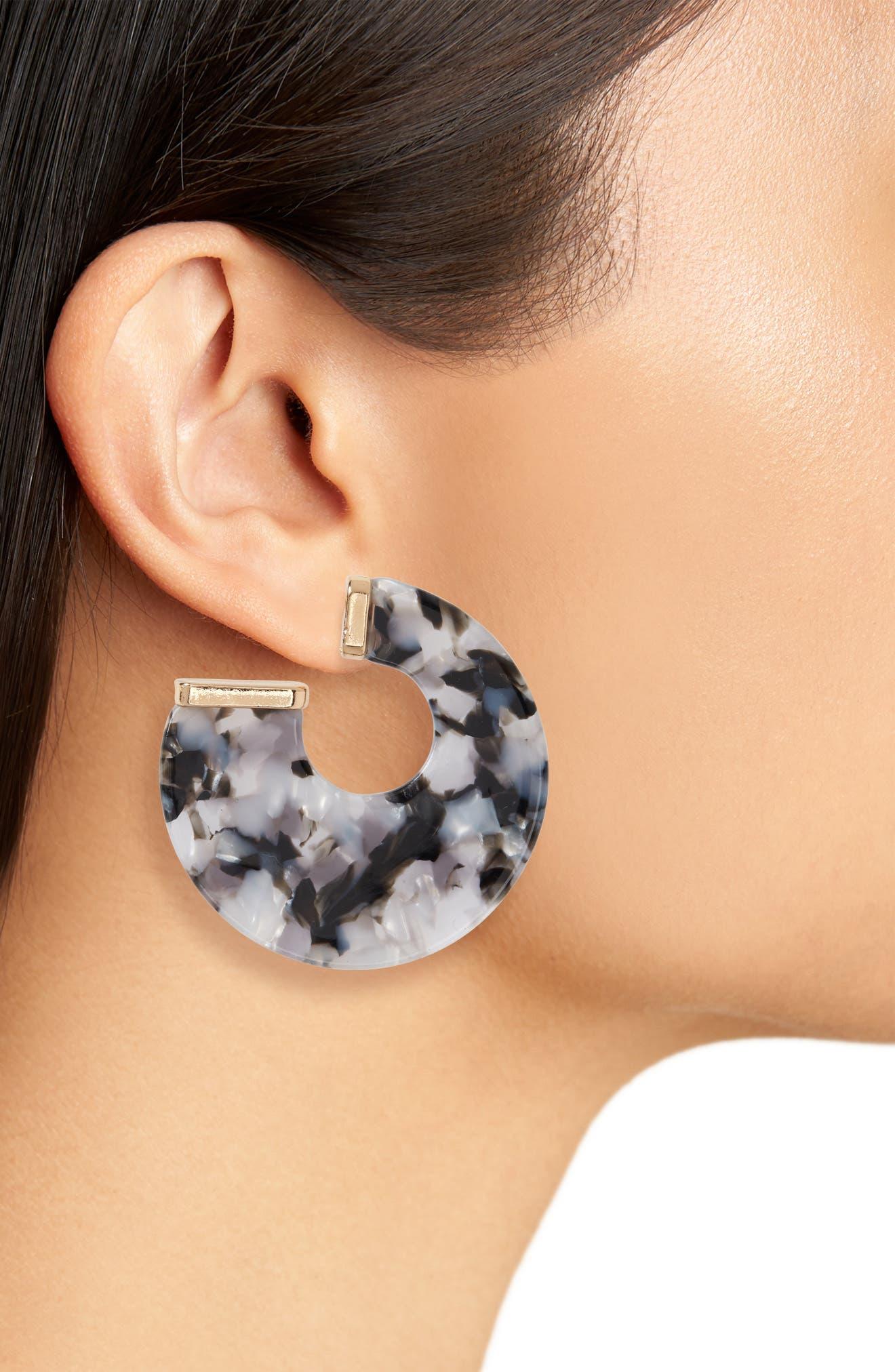 Flat Resin Hoop Earrings,                             Alternate thumbnail 2, color,                             001