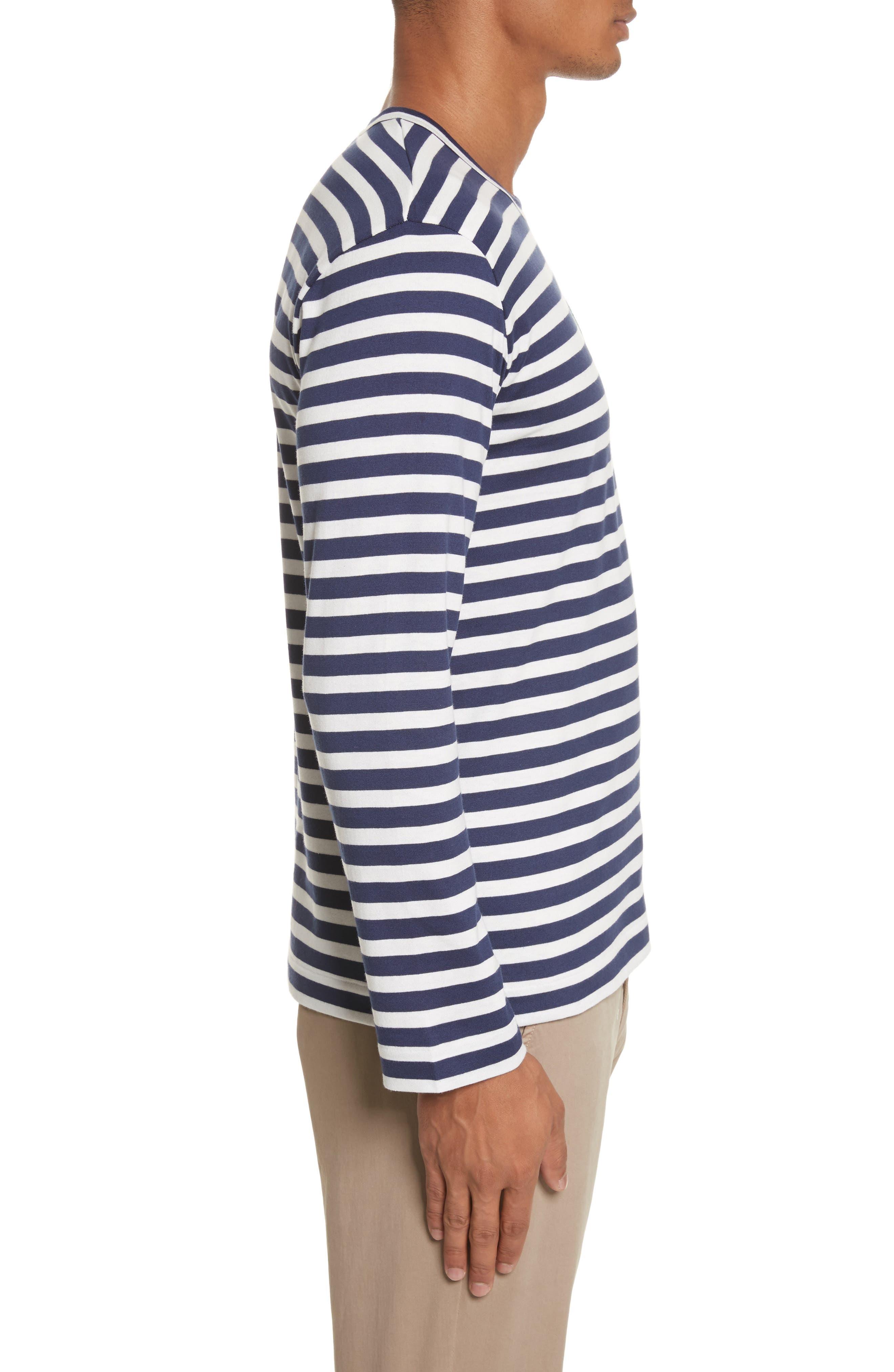 Stripe Long Sleeve T-Shirt,                             Alternate thumbnail 3, color,                             415