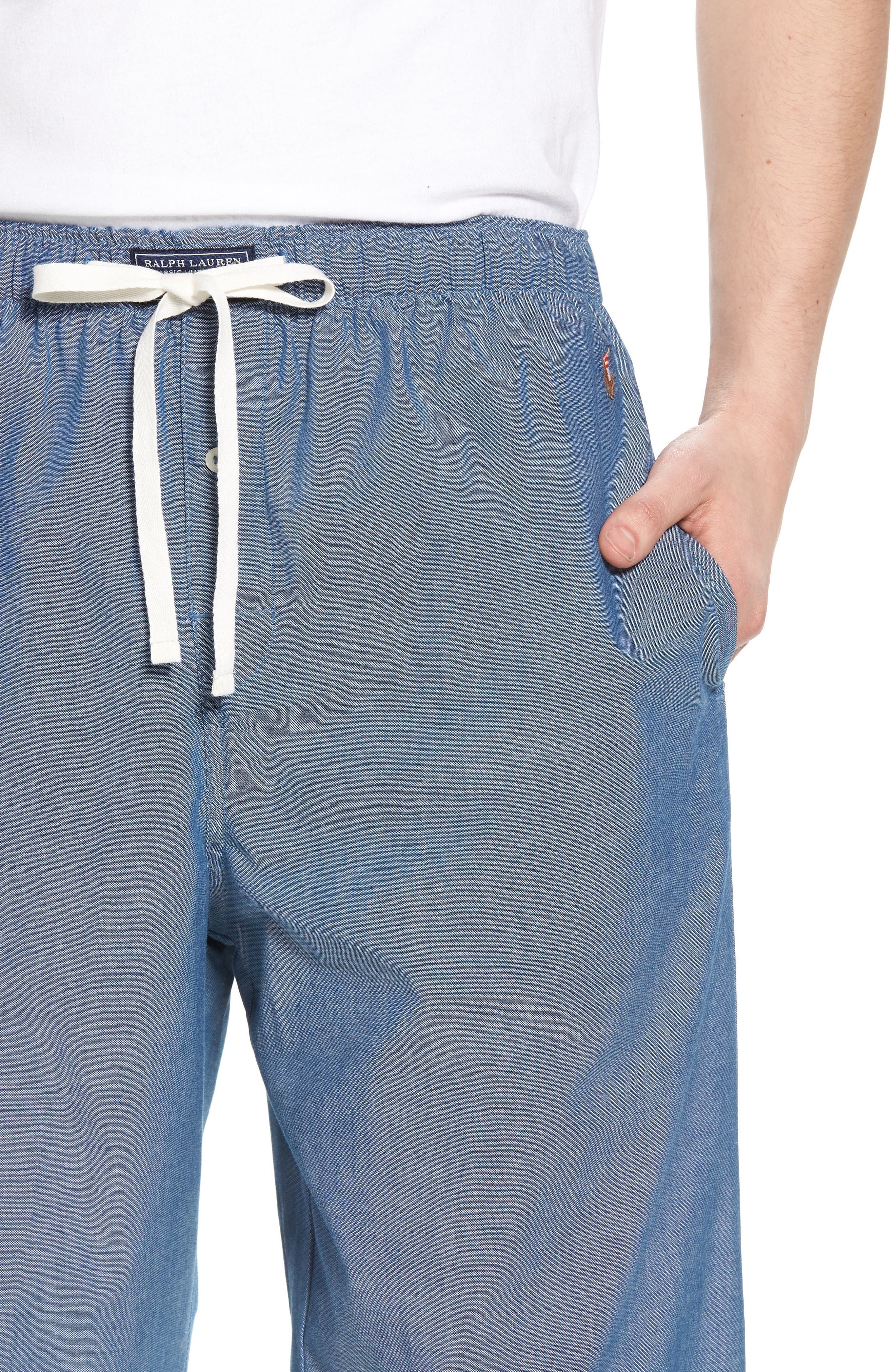 Chambray Woven Lounge Pants,                             Alternate thumbnail 4, color,                             424
