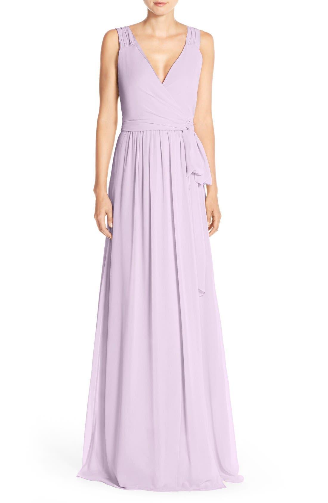 Newbury Gathered Sleeve Chiffon Wrap Gown,                             Main thumbnail 8, color,