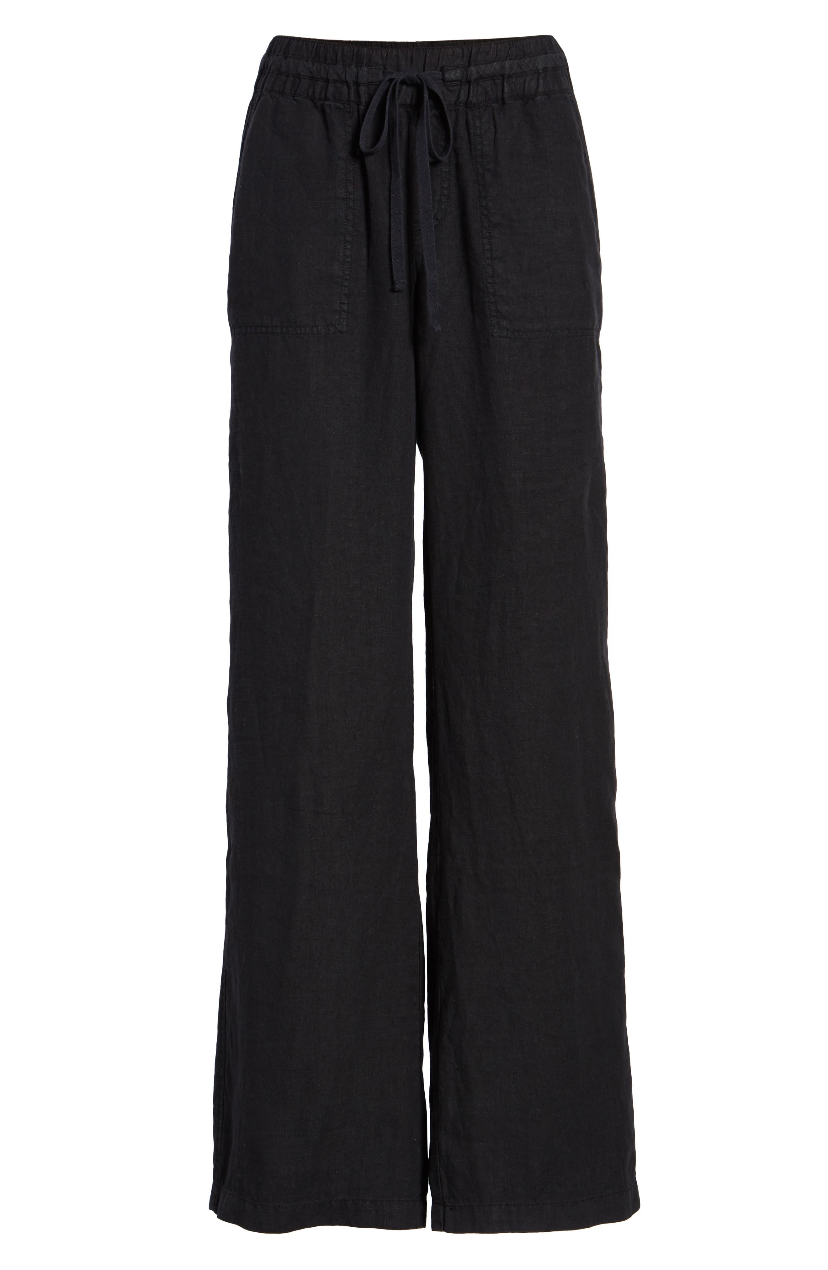 Linen Pants,                             Alternate thumbnail 7, color,                             BLACK