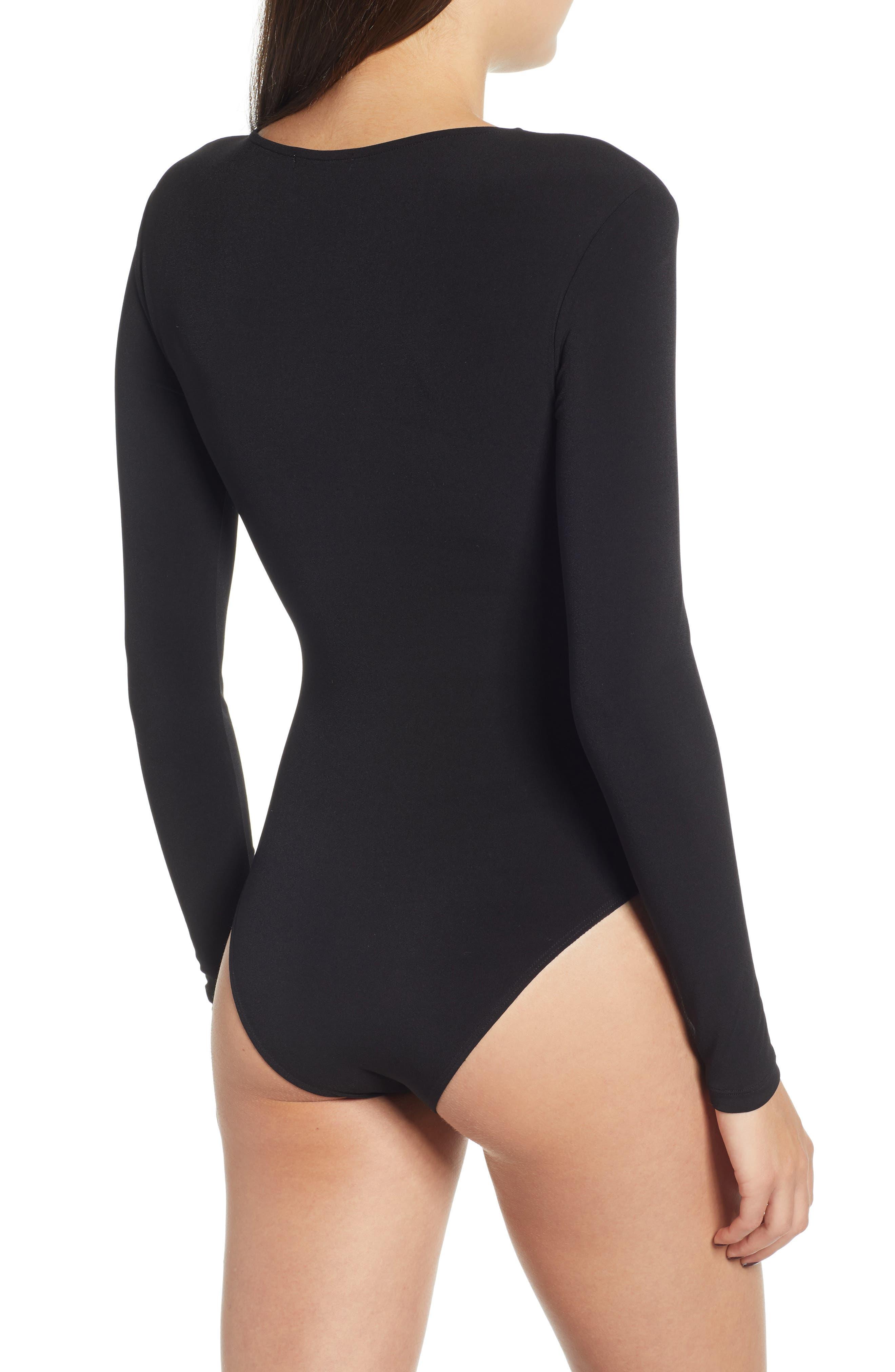 Deep V-Neck Long Sleeve Bodysuit,                             Alternate thumbnail 3, color,                             BLACK