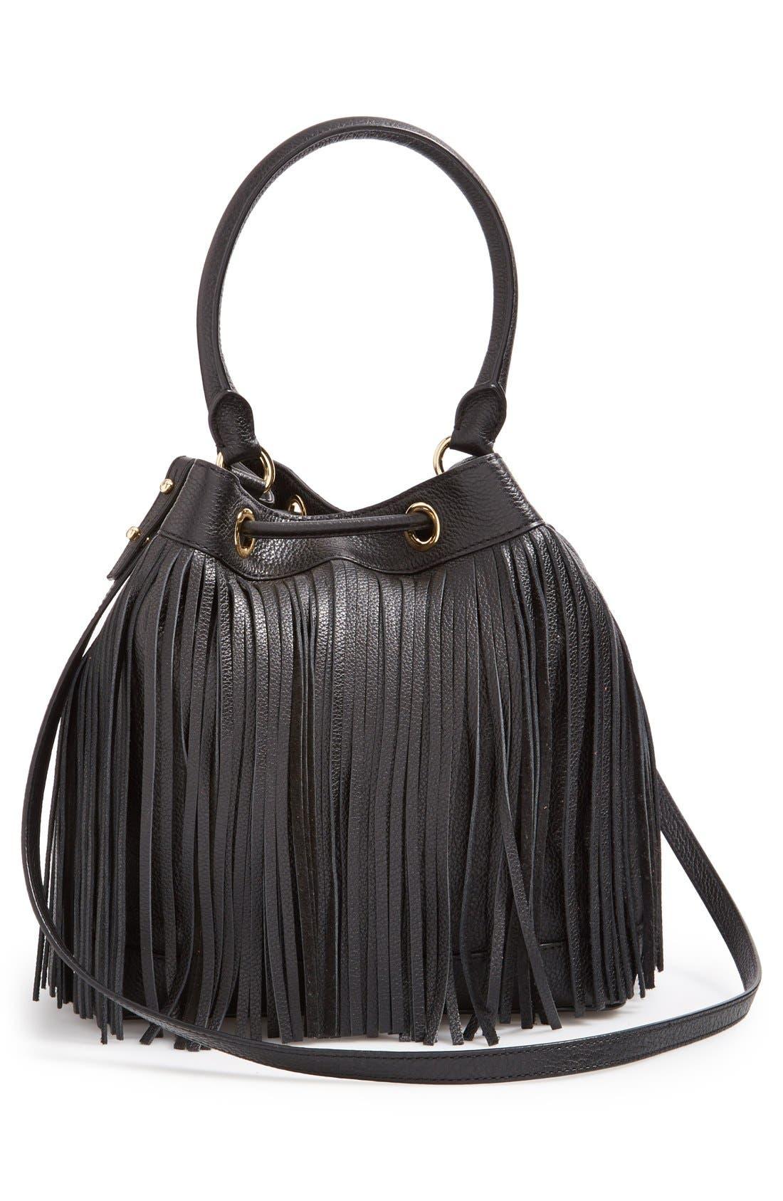 'Essex' Fringed Leather Bucket Bag,                             Alternate thumbnail 6, color,                             001