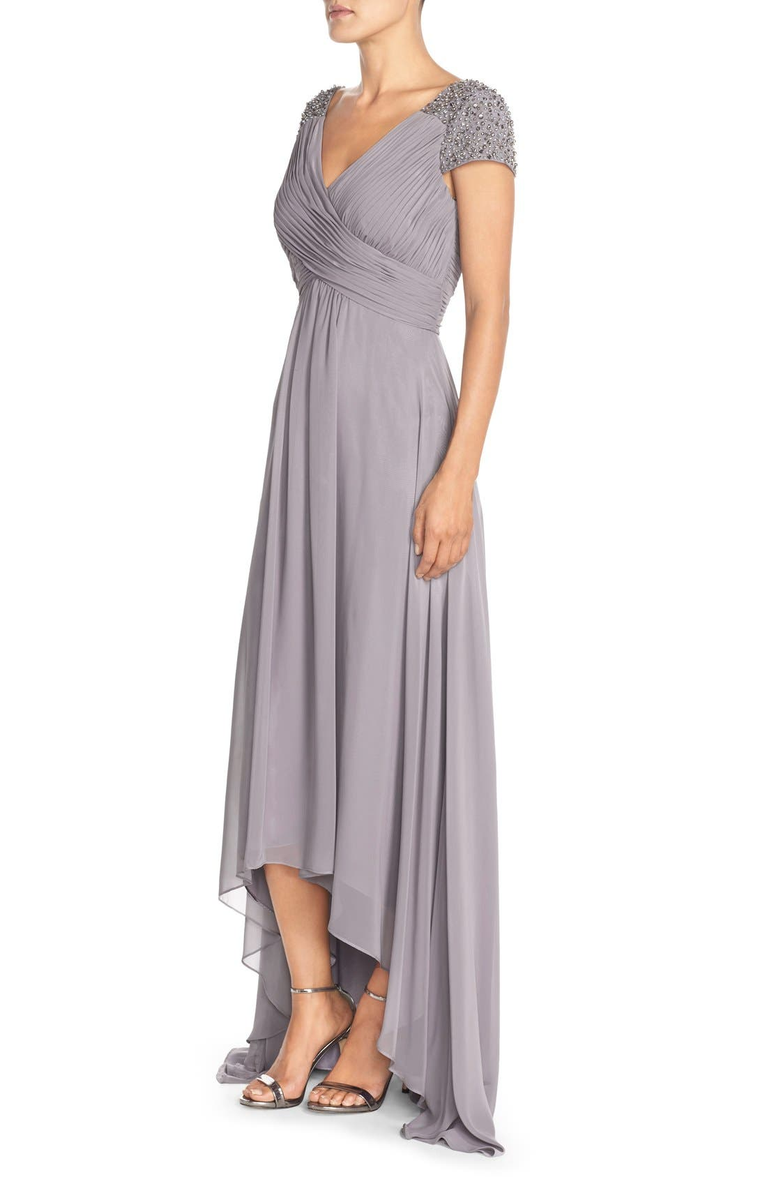 Embellished Pleated Chiffon Gown,                             Alternate thumbnail 9, color,                             030