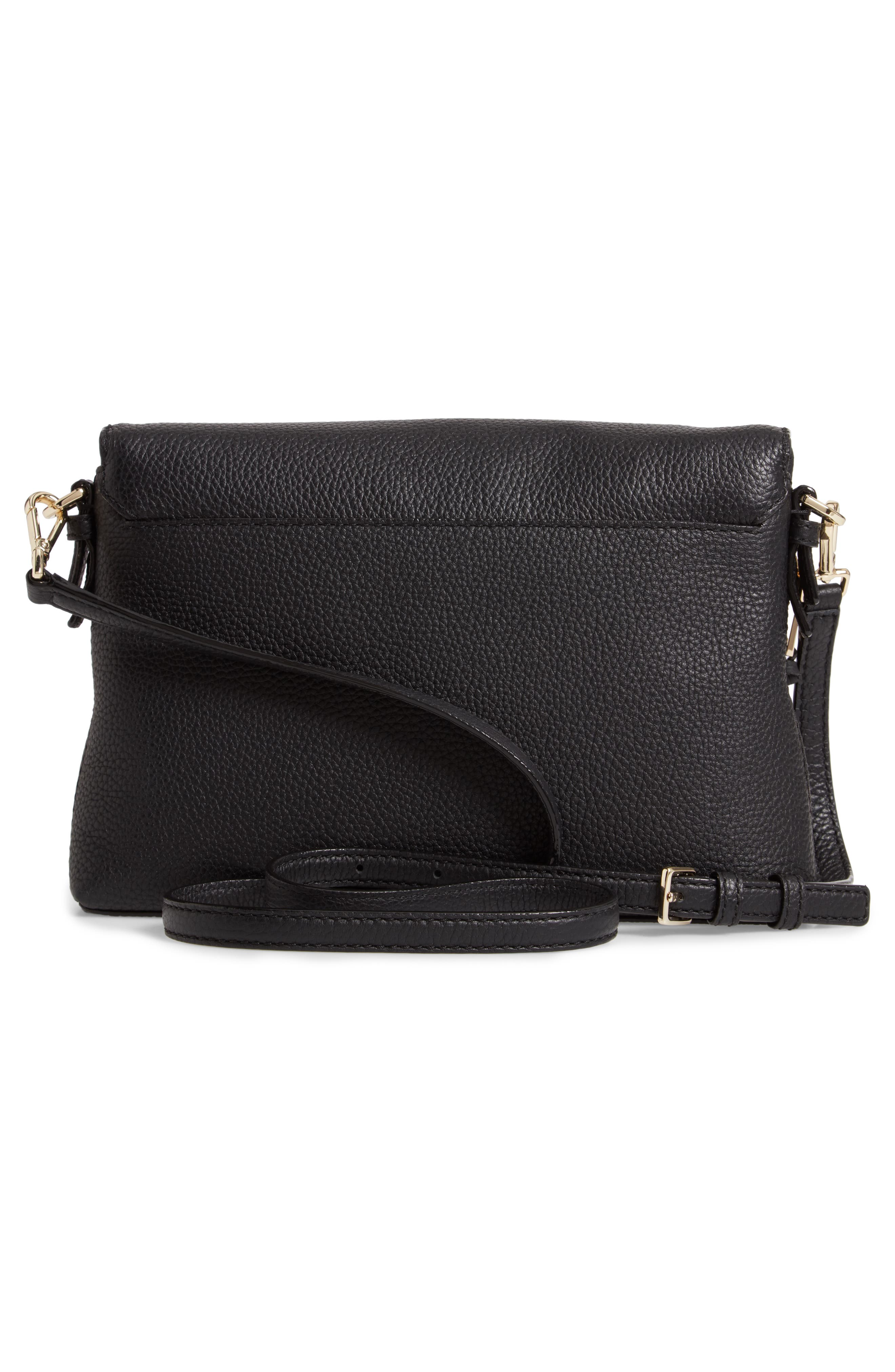 jackson street - harlyn leather crossbody bag,                             Alternate thumbnail 3, color,                             BLACK