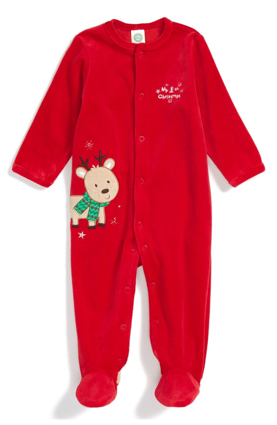 'My First Christmas' Velour One-Piece, Main, color, 600