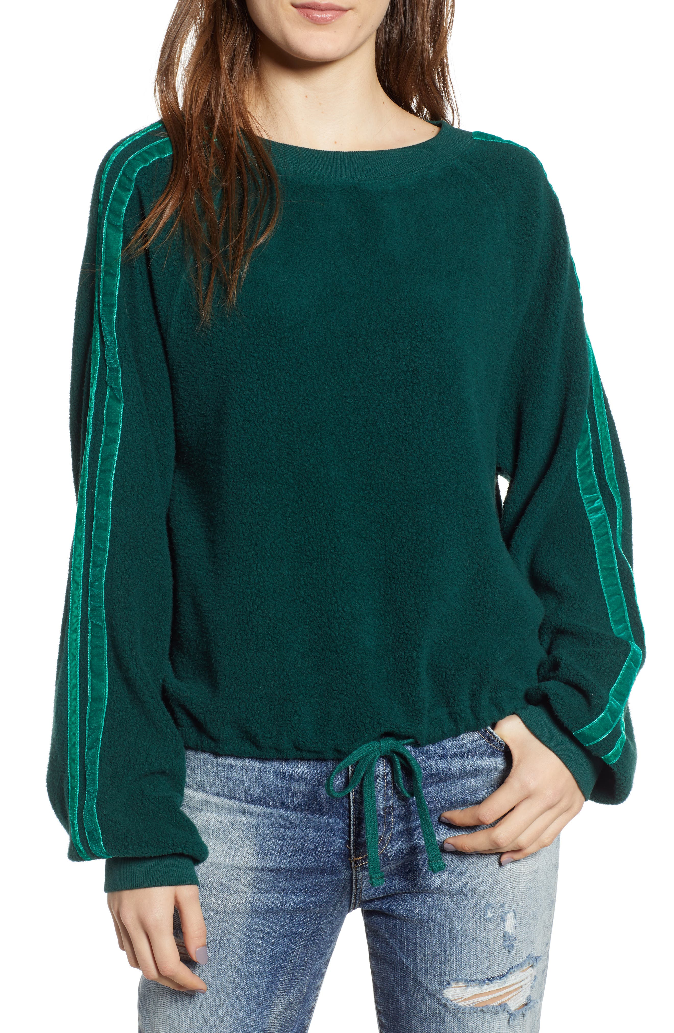 Velvet Stripe Crop Fleece Sweatshirt,                         Main,                         color, BOTANICAL GREEN