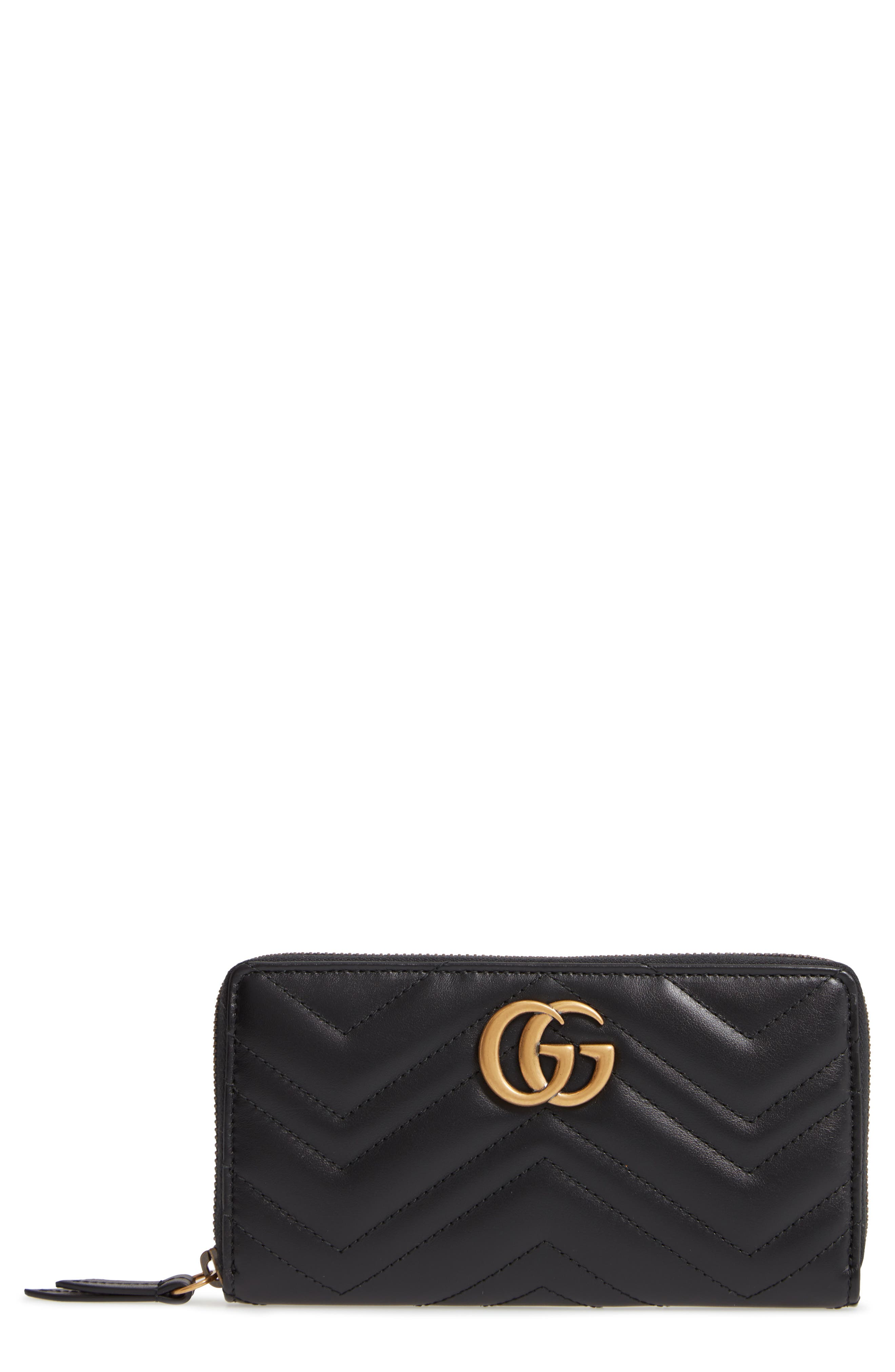 GUCCI,                             GG Marmont 2.0 Zip Around Wallet,                             Main thumbnail 1, color,                             NERO
