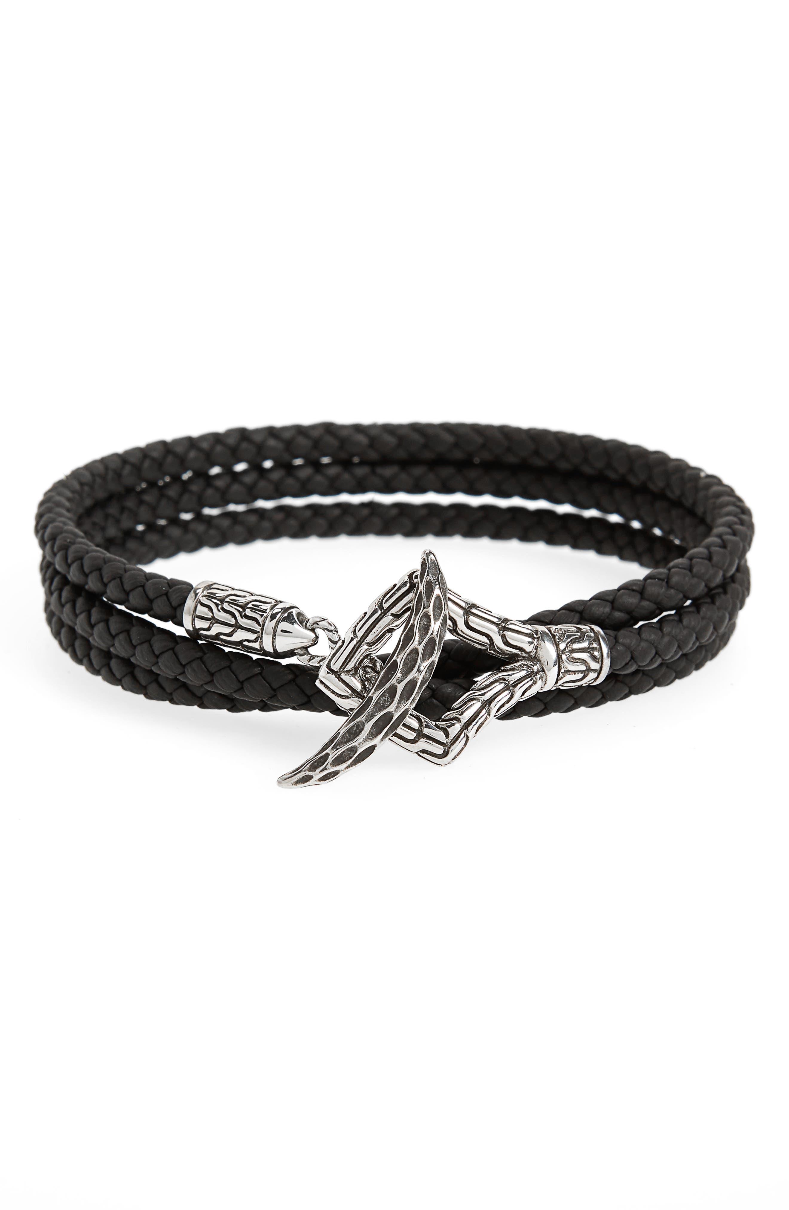 Legends Naga Triple Wrap Leather Bracelet,                             Main thumbnail 1, color,                             BLACK/ SILVER