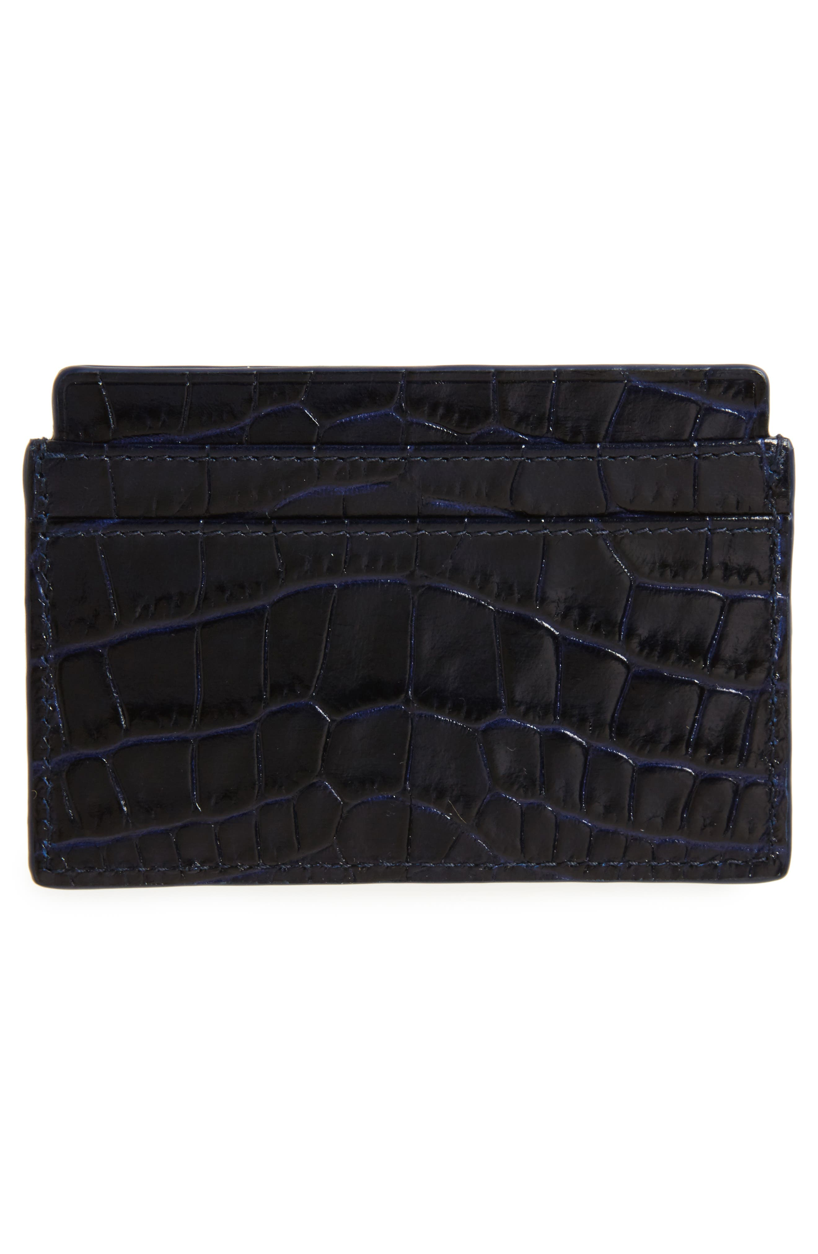 Mara Tiered Croc Embossed Leather Card Holder,                             Alternate thumbnail 2, color,                             450