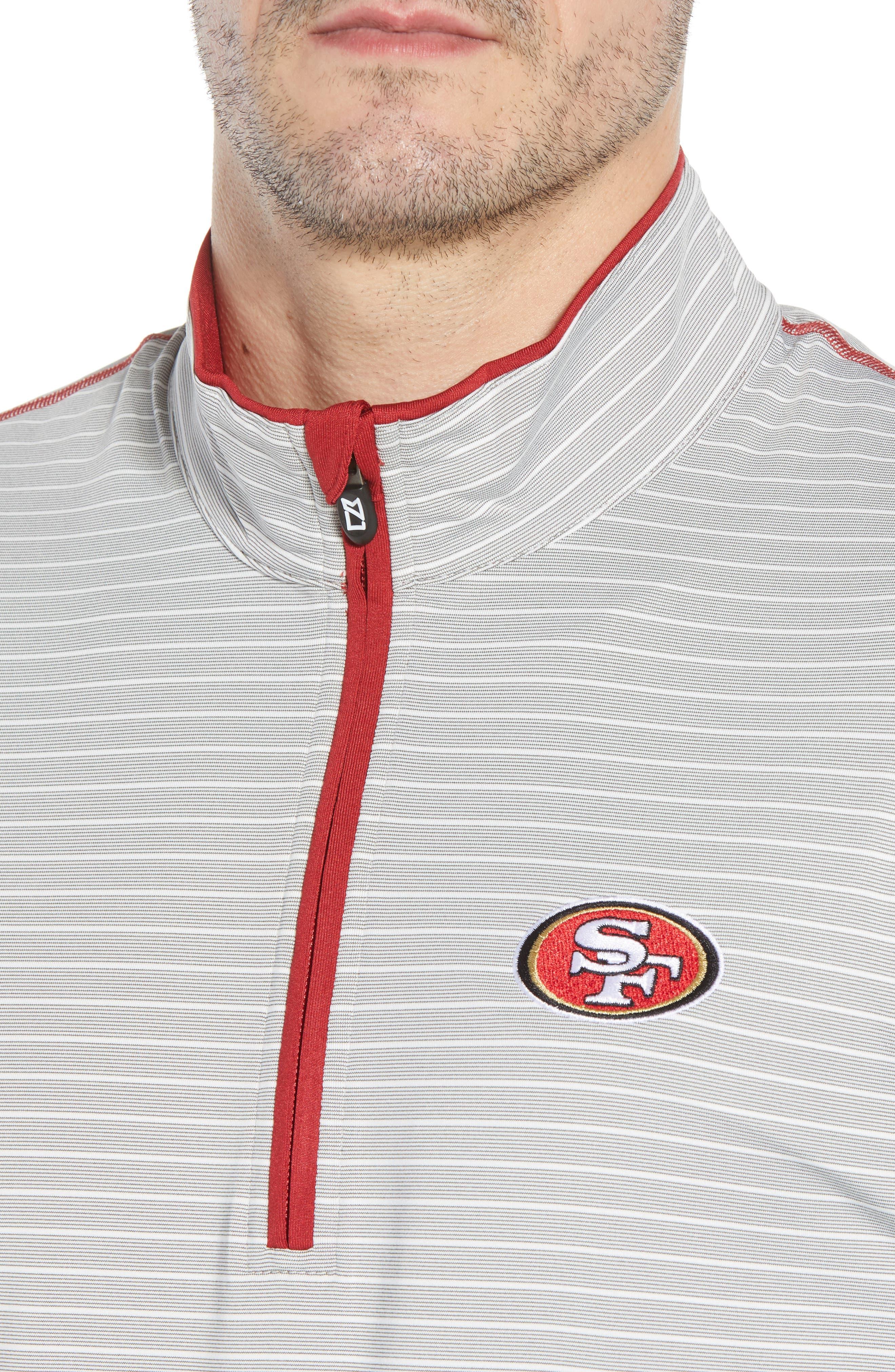 Meridian - San Francisco 49ers Regular Fit Half Zip Pullover,                             Alternate thumbnail 4, color,                             RED