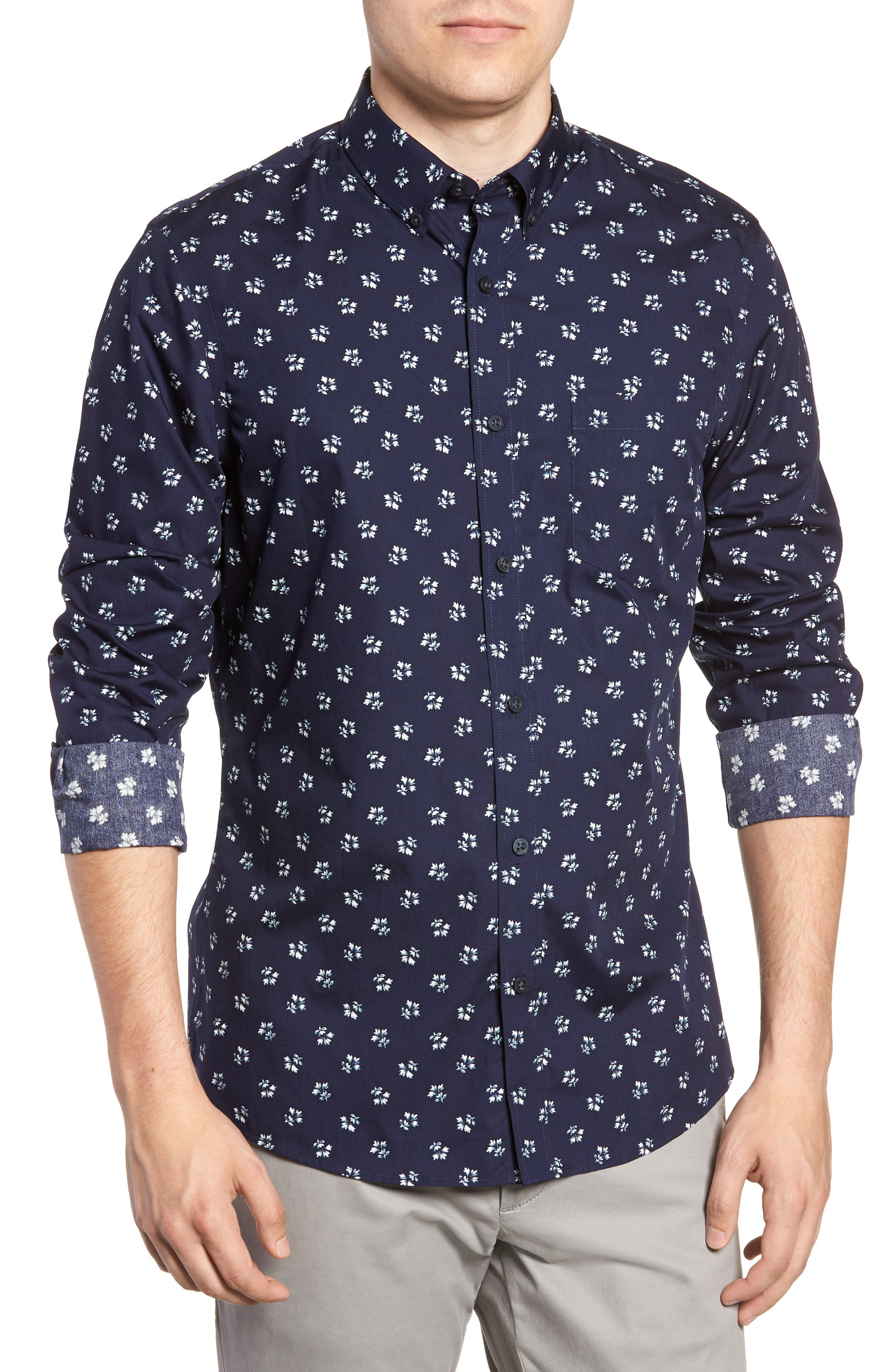 Trim Fit Non-Iron Print Sport Shirt,                         Main,                         color, NAVY NIGHT FLORAL PRINT