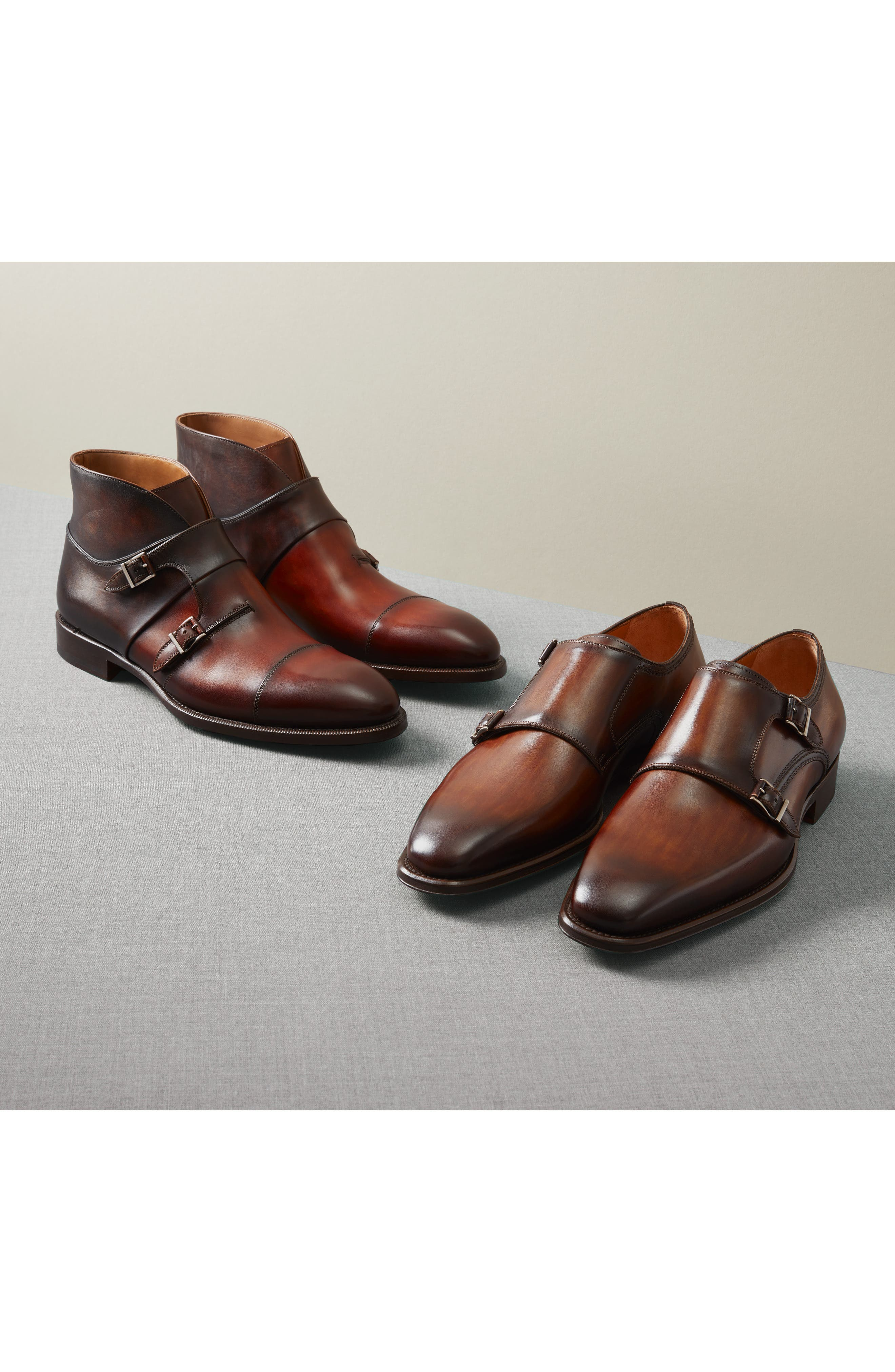 Landon Double Strap Monk Shoe,                             Alternate thumbnail 7, color,                             TOBACCO LEATHER