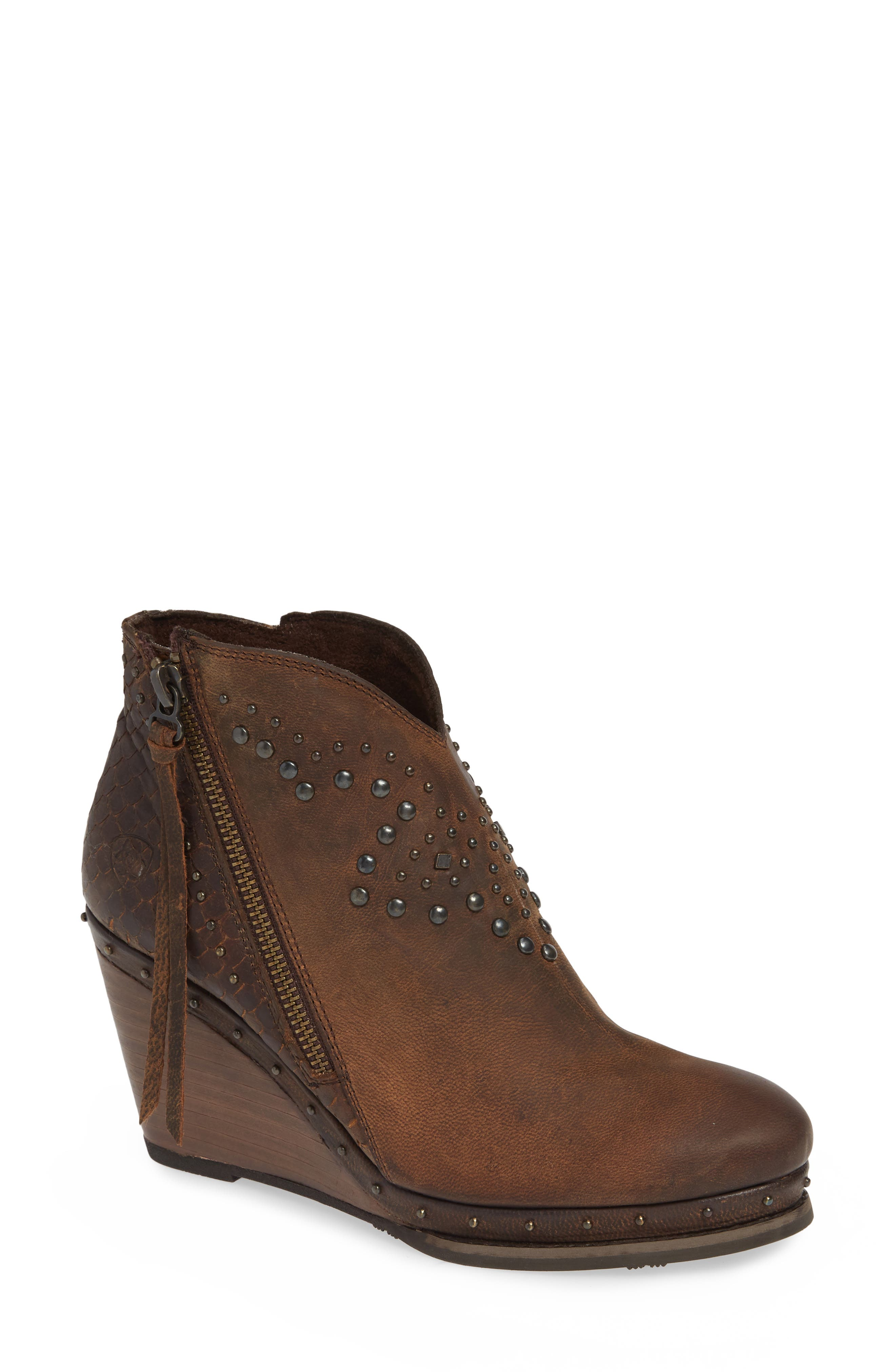 Stax Studded Wedge Bootie,                             Main thumbnail 1, color,                             RUSSET DIAMONDBACK TAN LEATHER