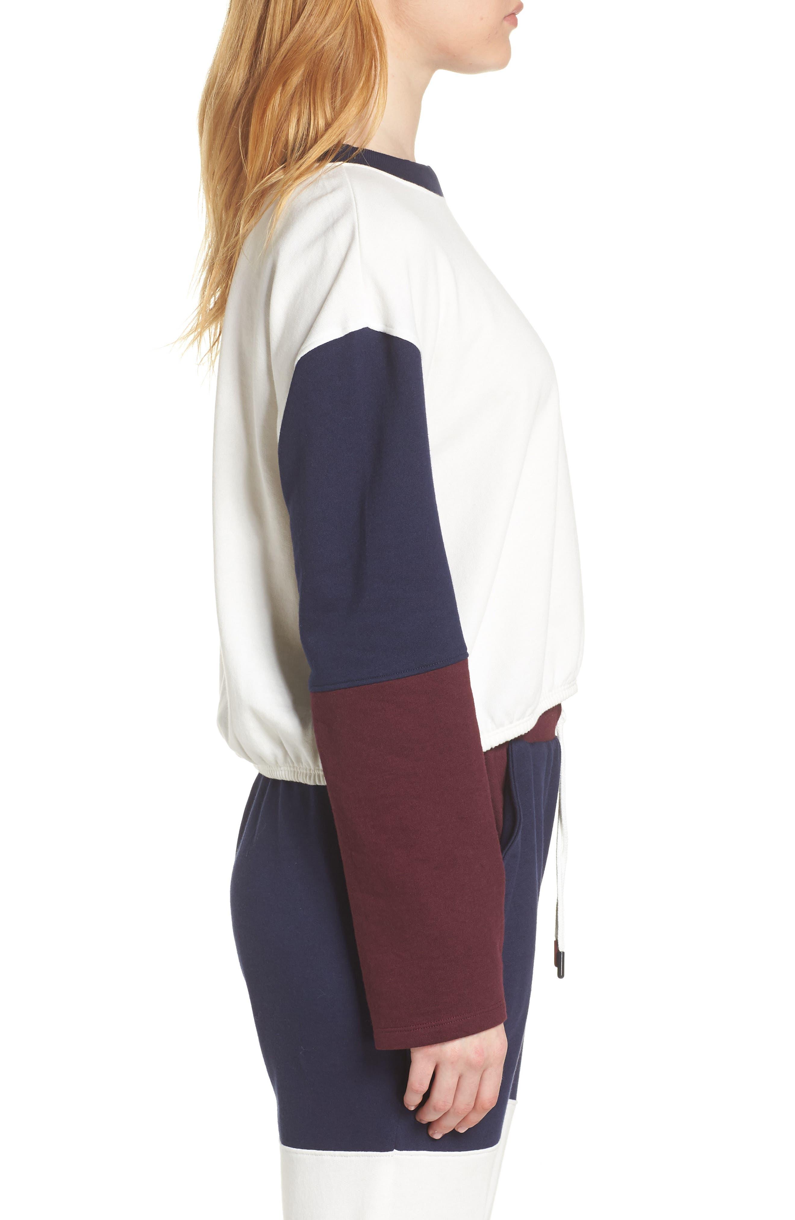 Colorblock Sweatshirt,                             Alternate thumbnail 3, color,                             EGRET
