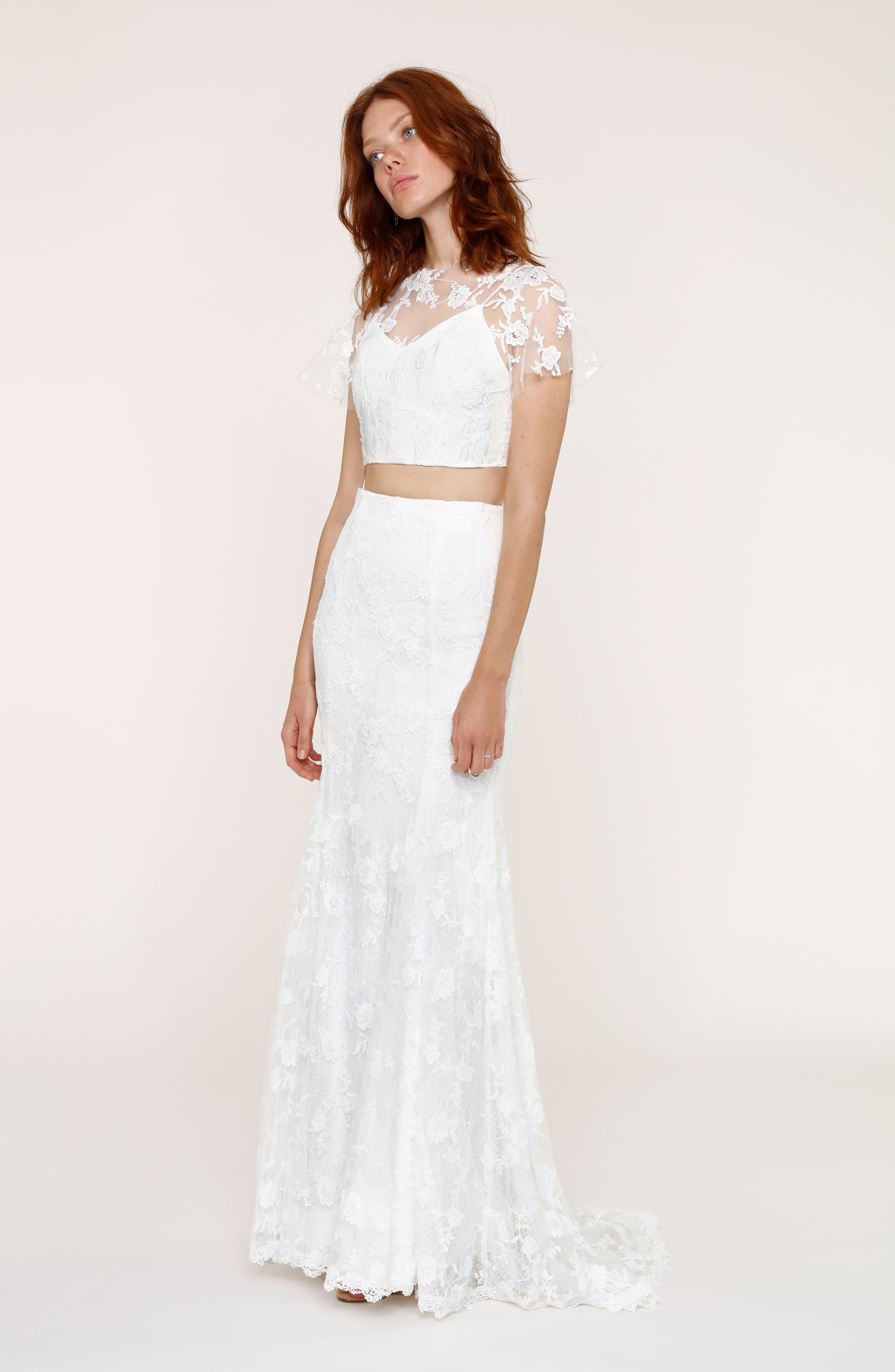 Maddie Lace Two-Piece Mermaid Gown,                             Alternate thumbnail 8, color,                             101