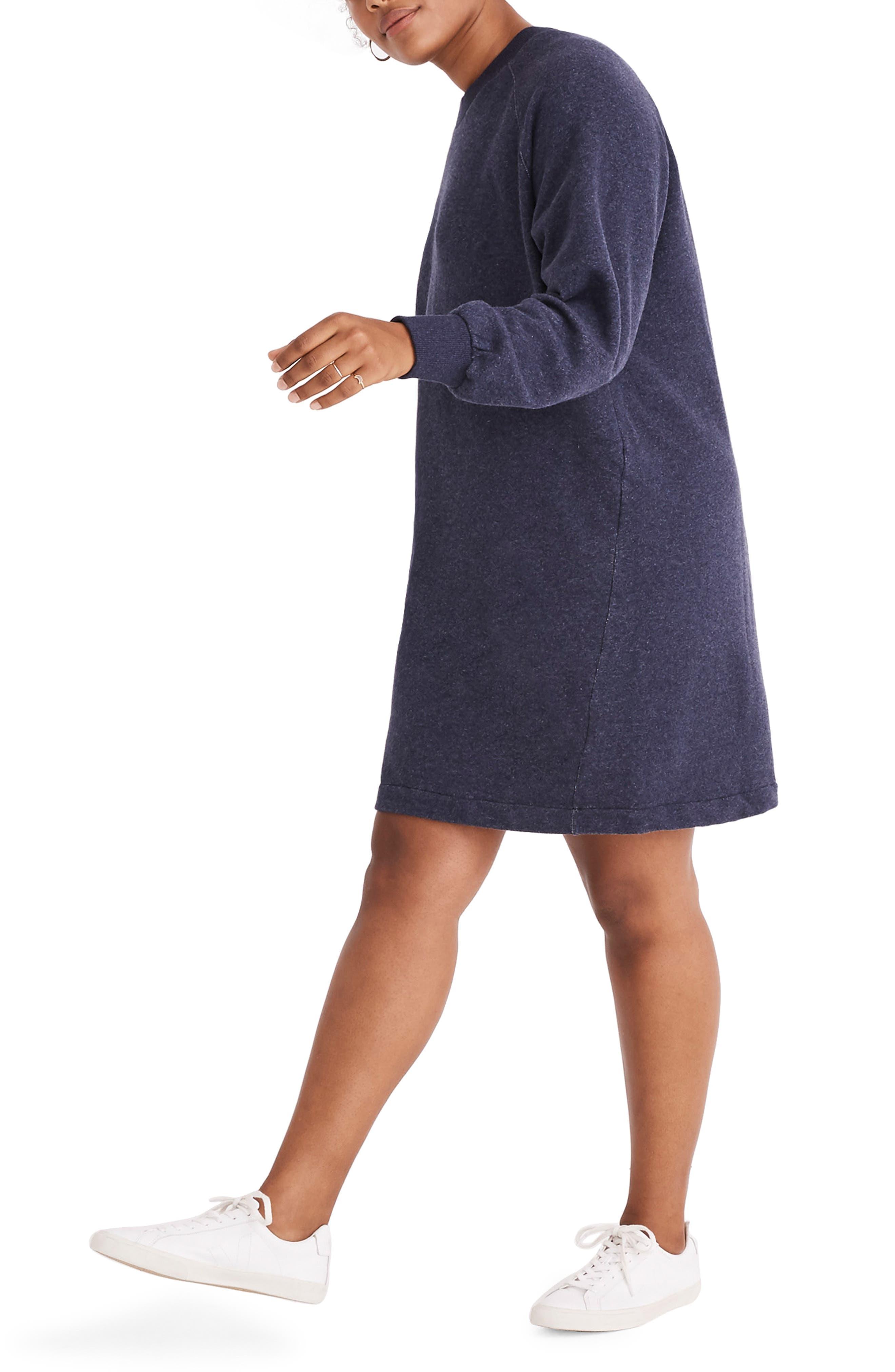 Bubble Sleeve Sweatshirt Dress,                             Alternate thumbnail 7, color,                             400