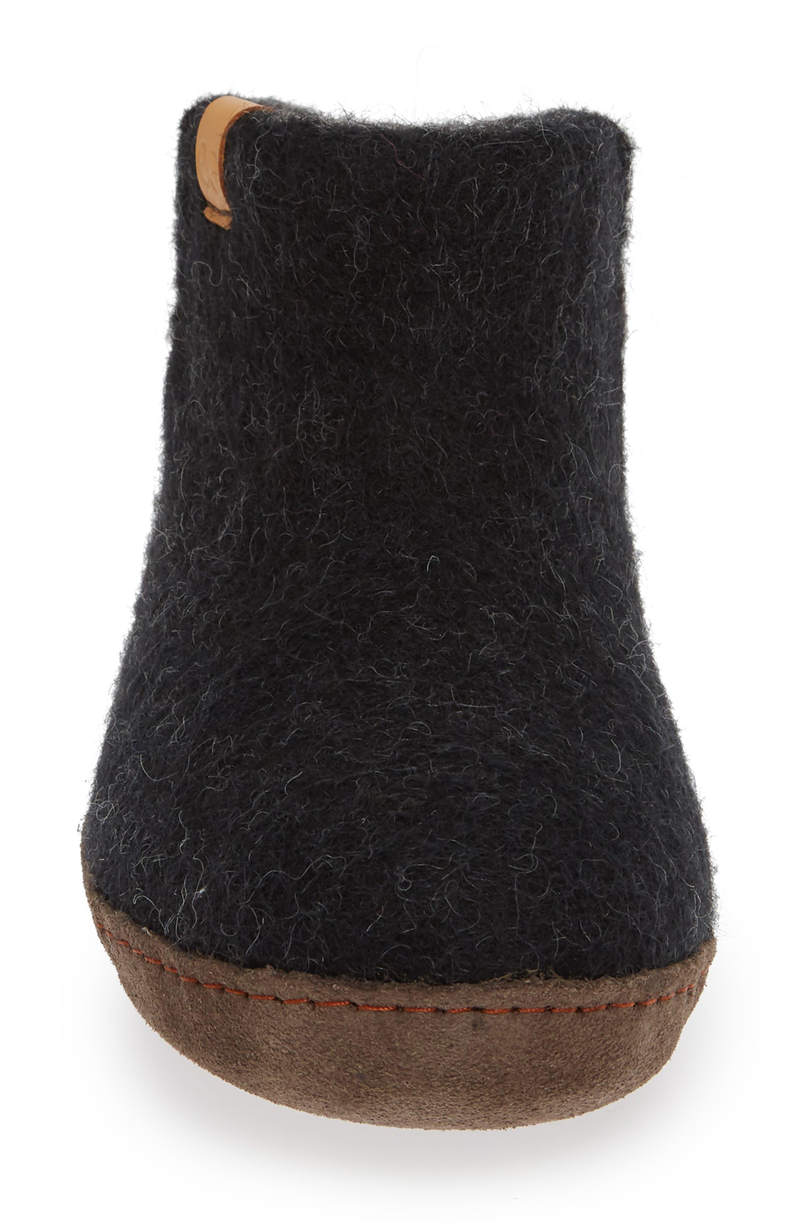 Everest Wool Slipper,                             Alternate thumbnail 4, color,                             BLACK WOOL