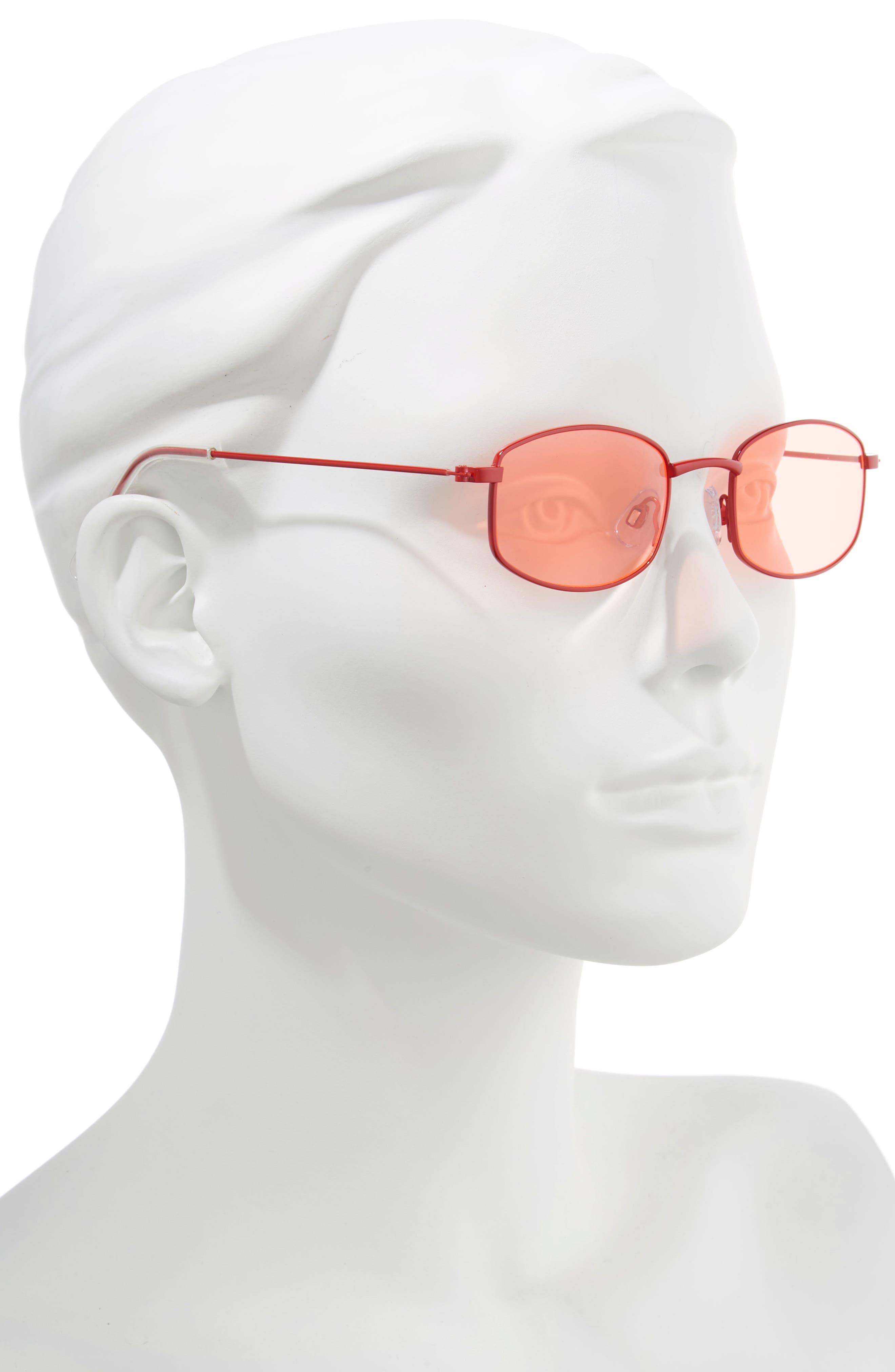 Mini 55mm Square Sunglasses,                             Alternate thumbnail 2, color,                             RED