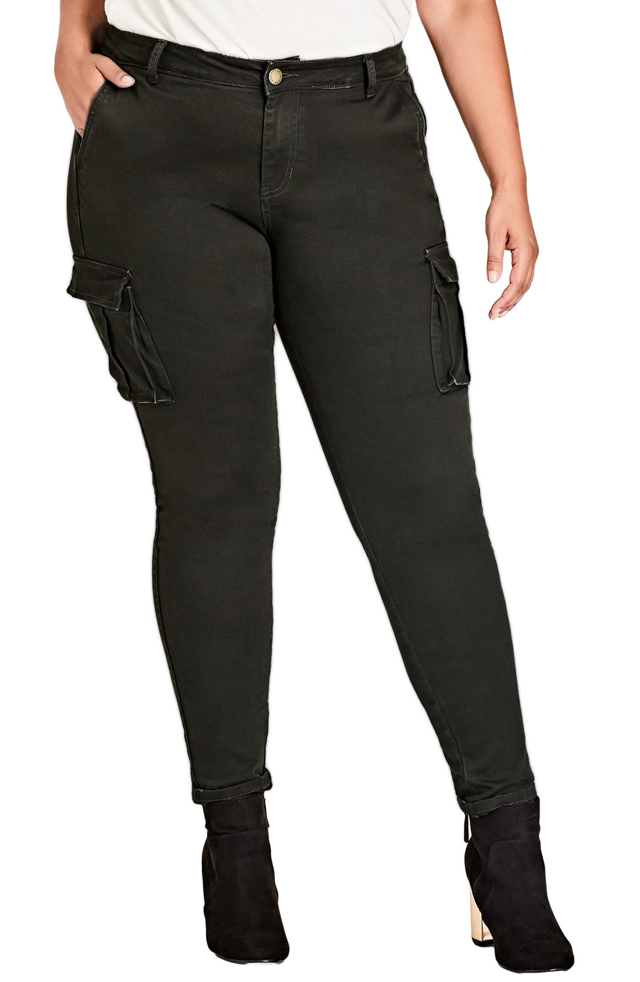 Plus Size City Chic Jungle Frenzy Cargo Pants, Green